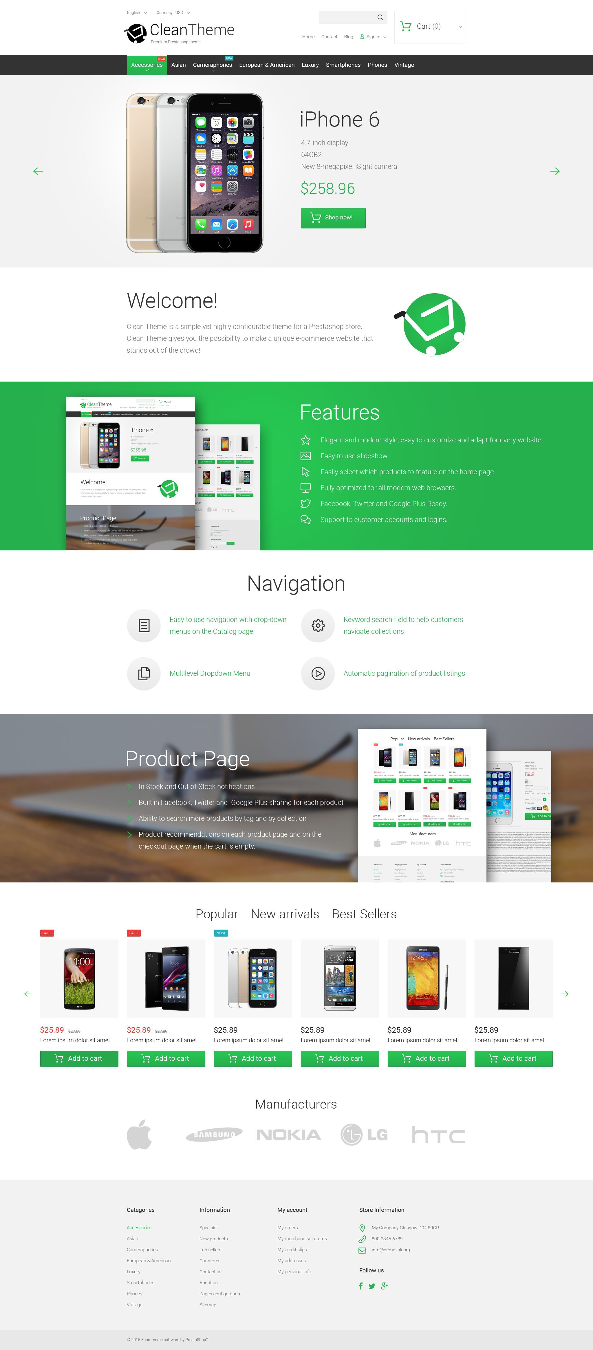 Clean Theme Tema PrestaShop №55602 - screenshot