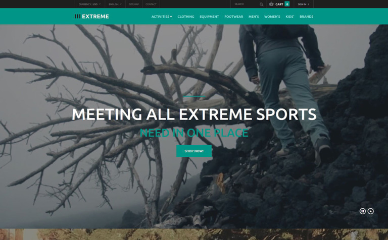 Clothing for Extreme Sports PrestaShop Theme