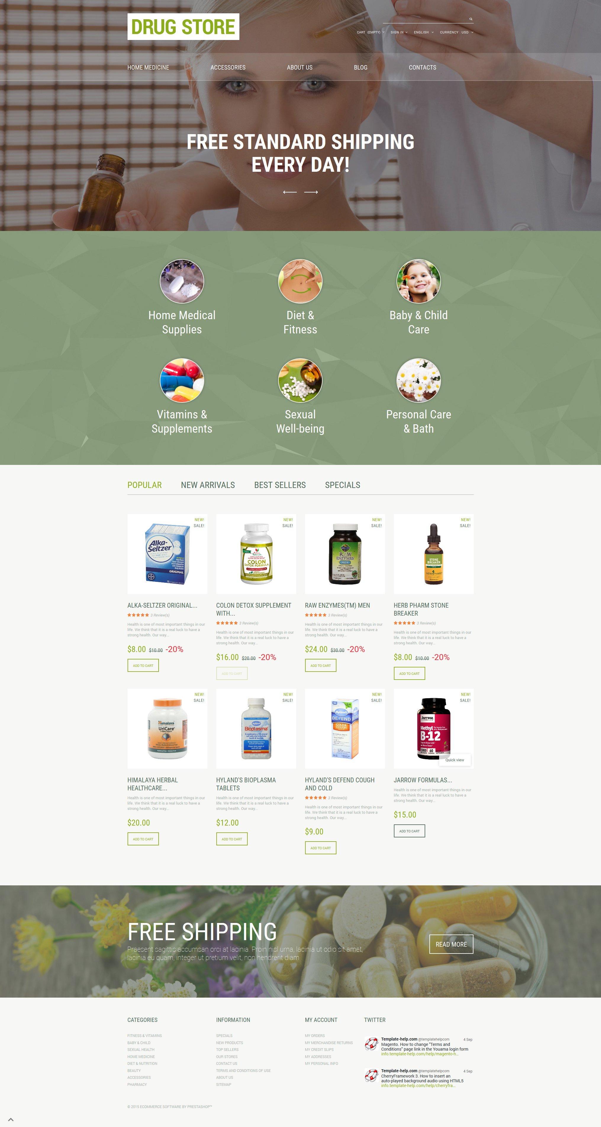 """Drug Store"" - адаптивний PrestaShop шаблон №55623"