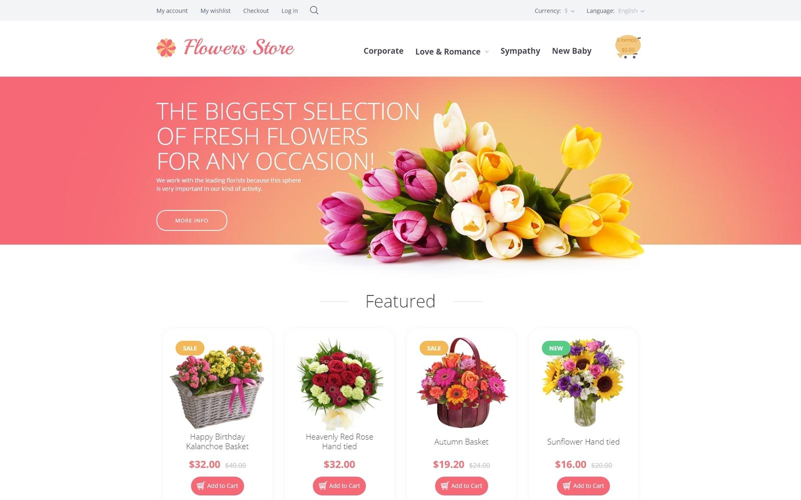 """Flowers Store"" - адаптивний OpenCart шаблон №55697"