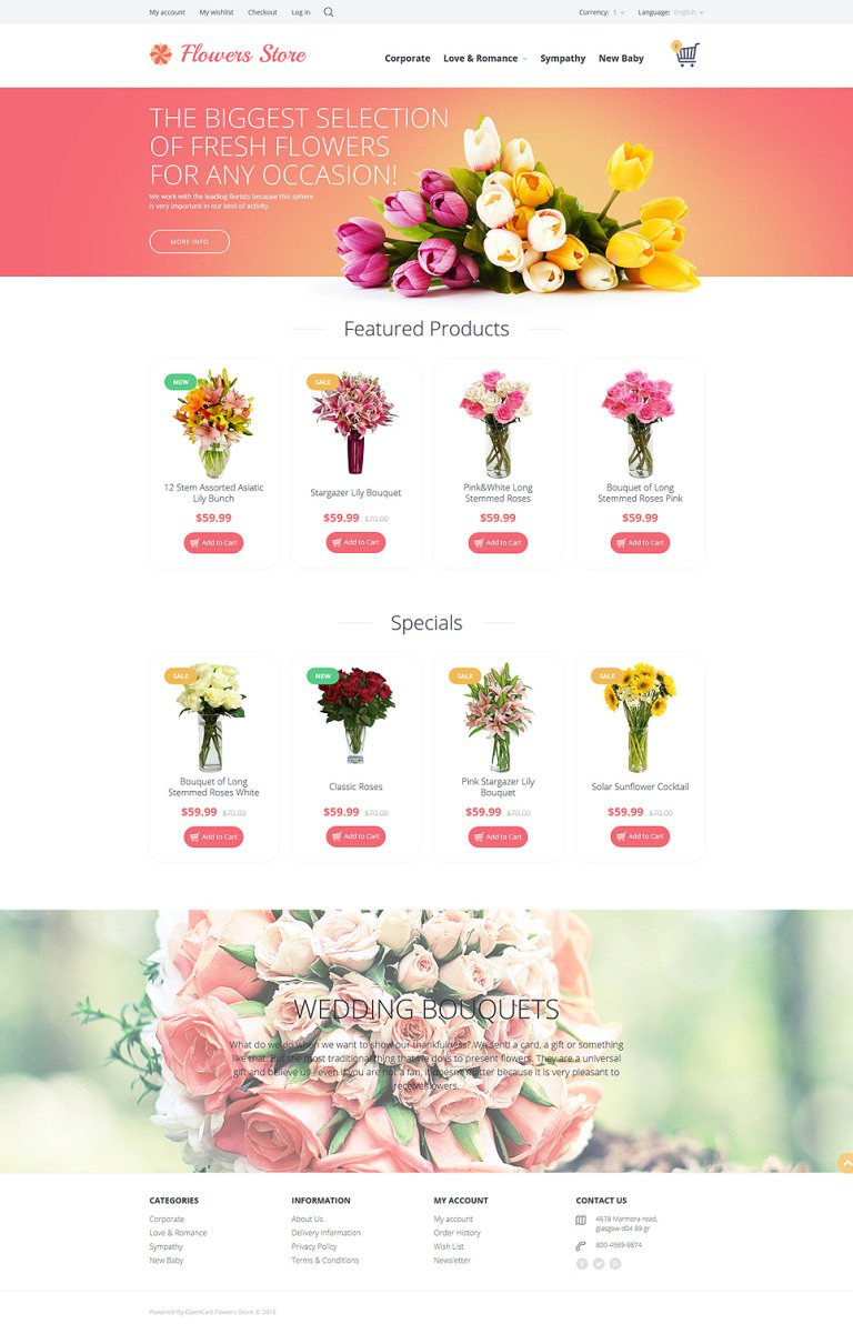 Flowers Store OpenCart Template New Screenshots BIG