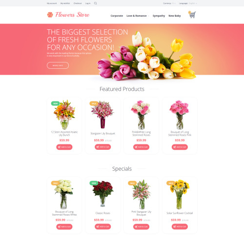 Flowers Store - OpenCart Template based on Bootstrap