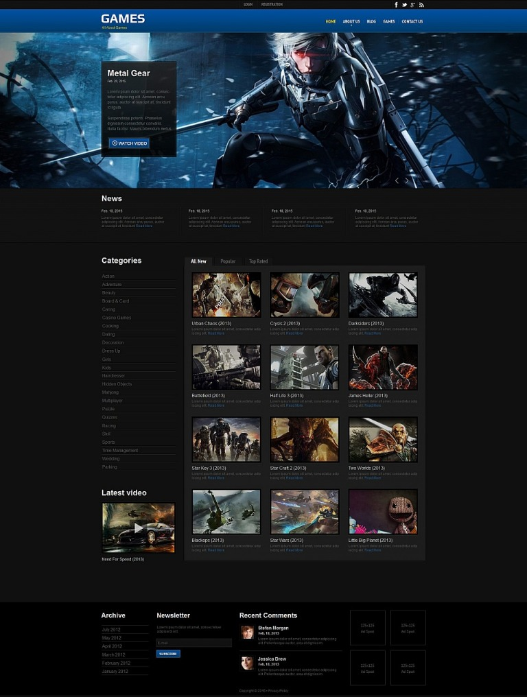 Game Portal Moto CMS HTML Template New Screenshots BIG