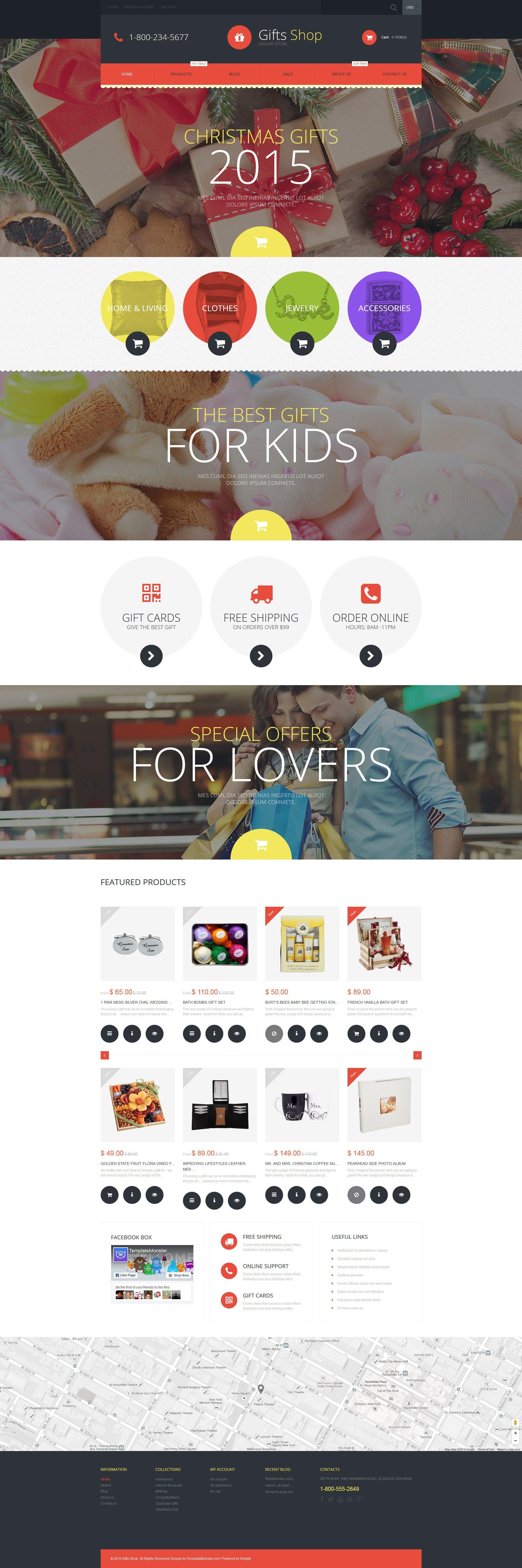 """Gifts Shop"" - адаптивний Shopify шаблон №55607"