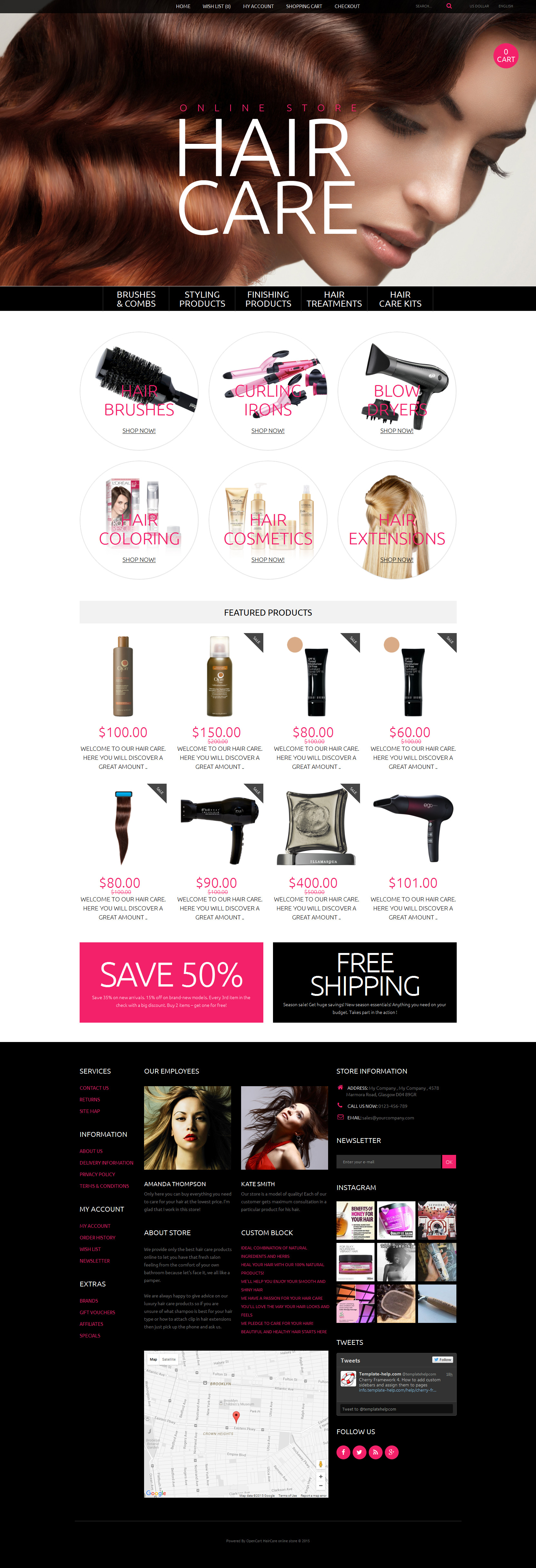 Hair Care Template OpenCart №55617