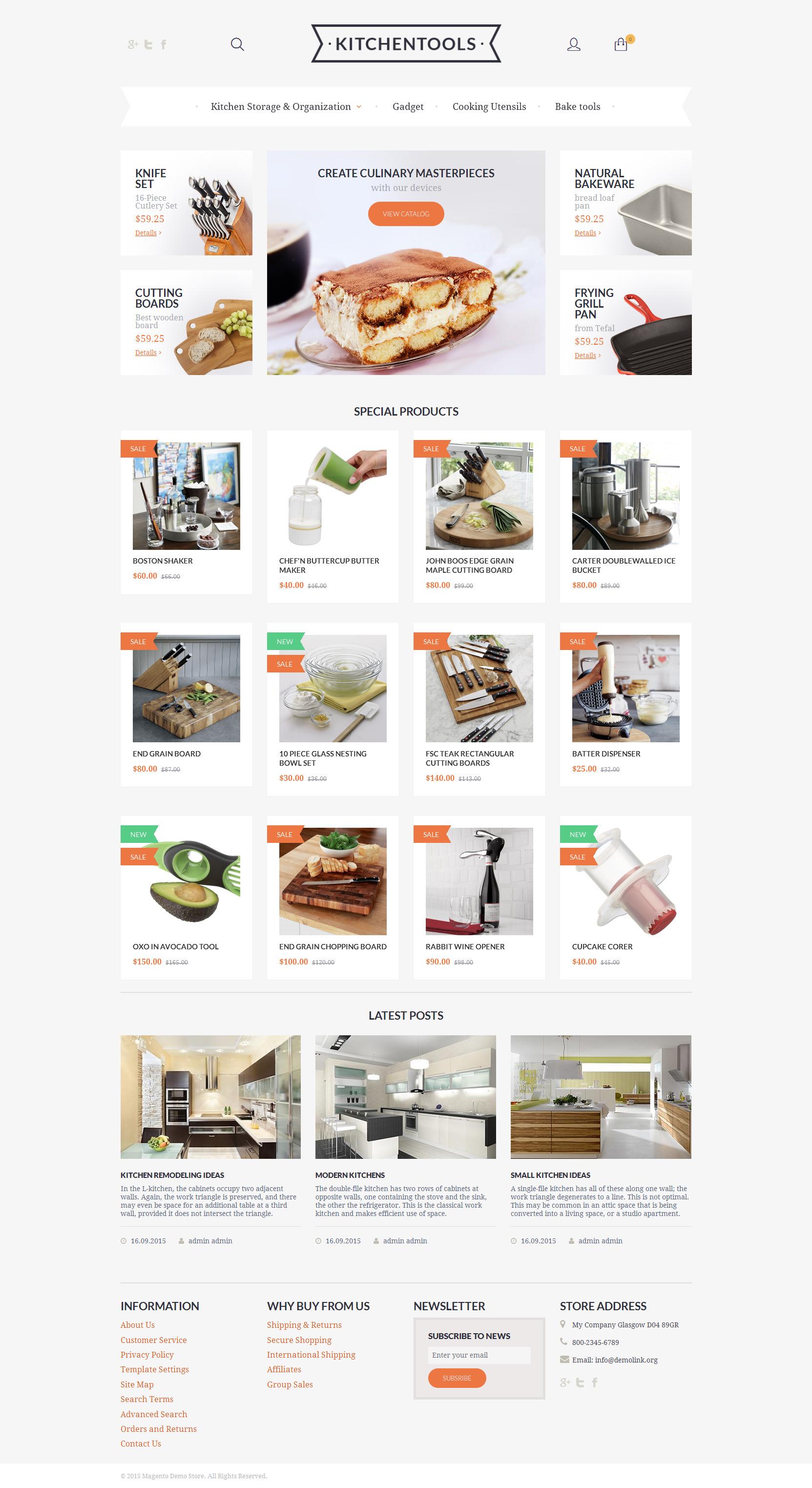 """Kitchen Tools"" - адаптивний Magento шаблон №55684"