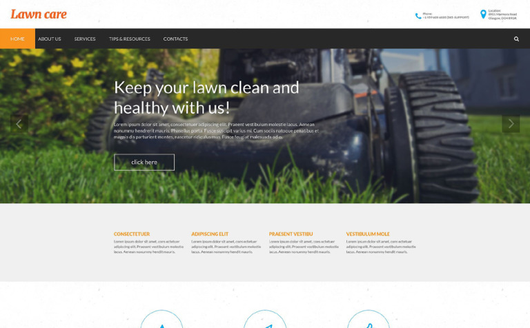 Lawn Mowing Responsive Website Template #55610
