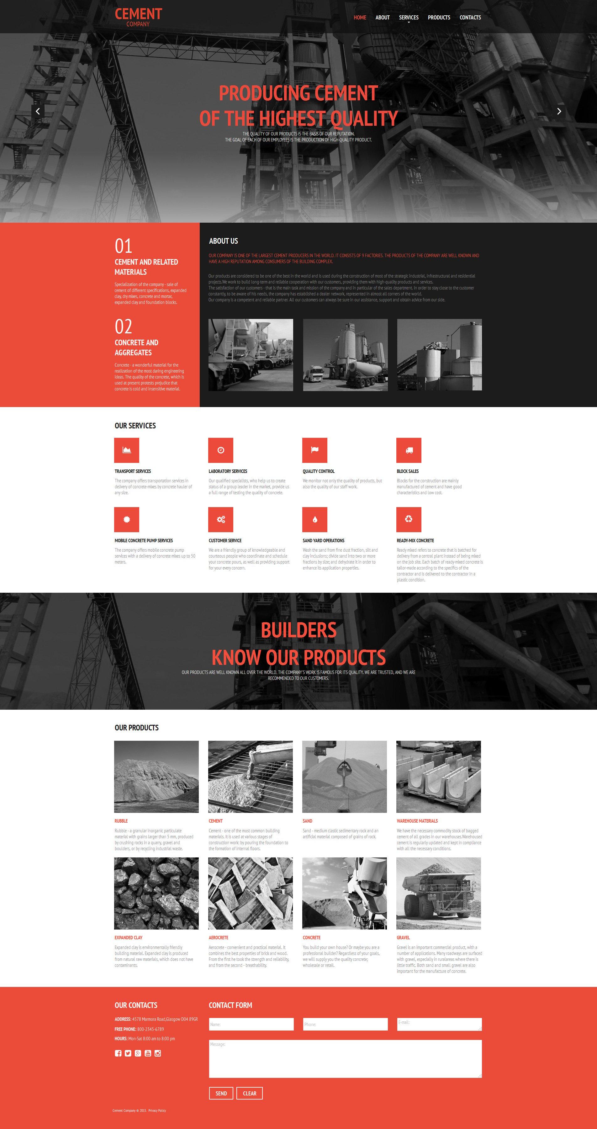 Modèle Moto CMS HTML Premium pour magasin de ciment #55658