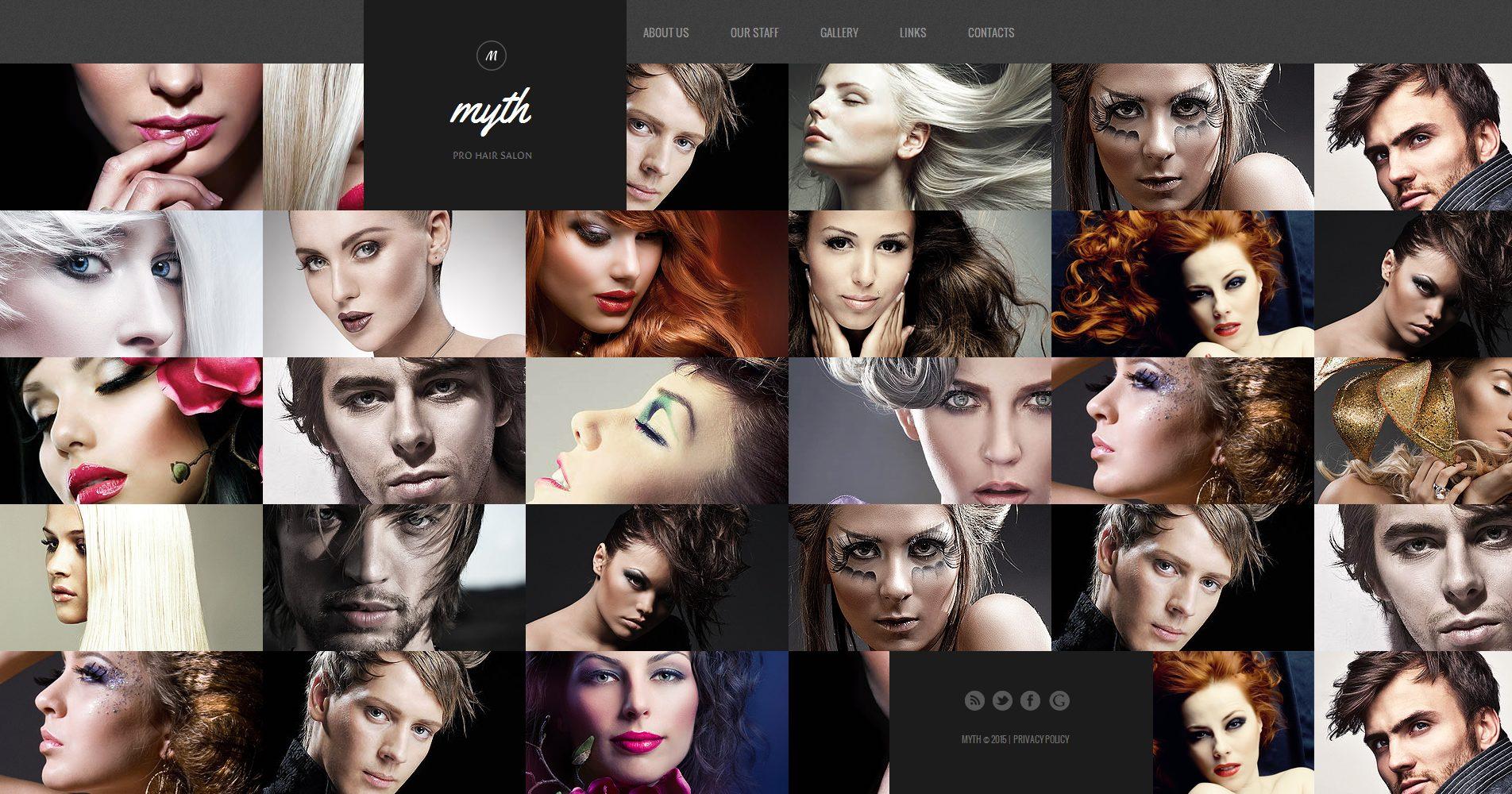 Modèle Moto CMS HTML Premium pour salon de coiffure #55664