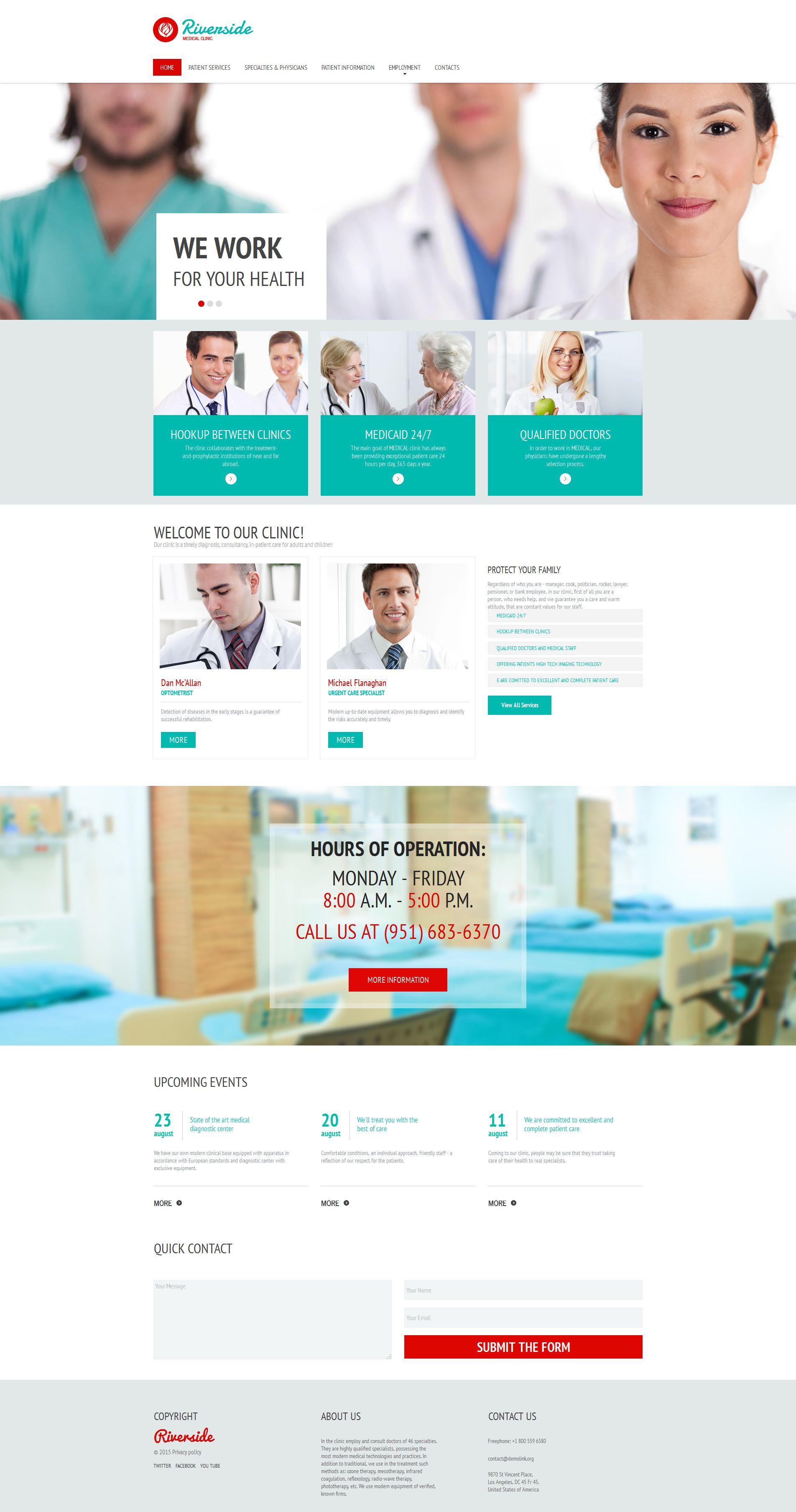 Modèle Moto CMS HTML Premium pour site médical #55656