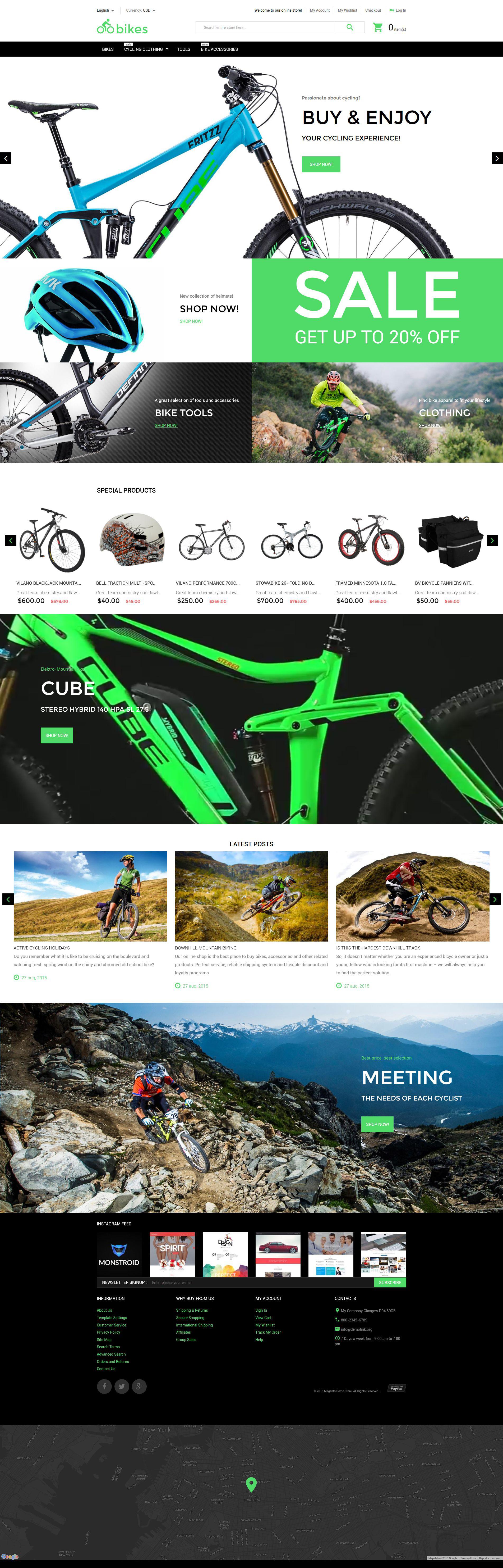 """Modello Magento Responsive #55622 """"Negozio di Biciclette"""""""