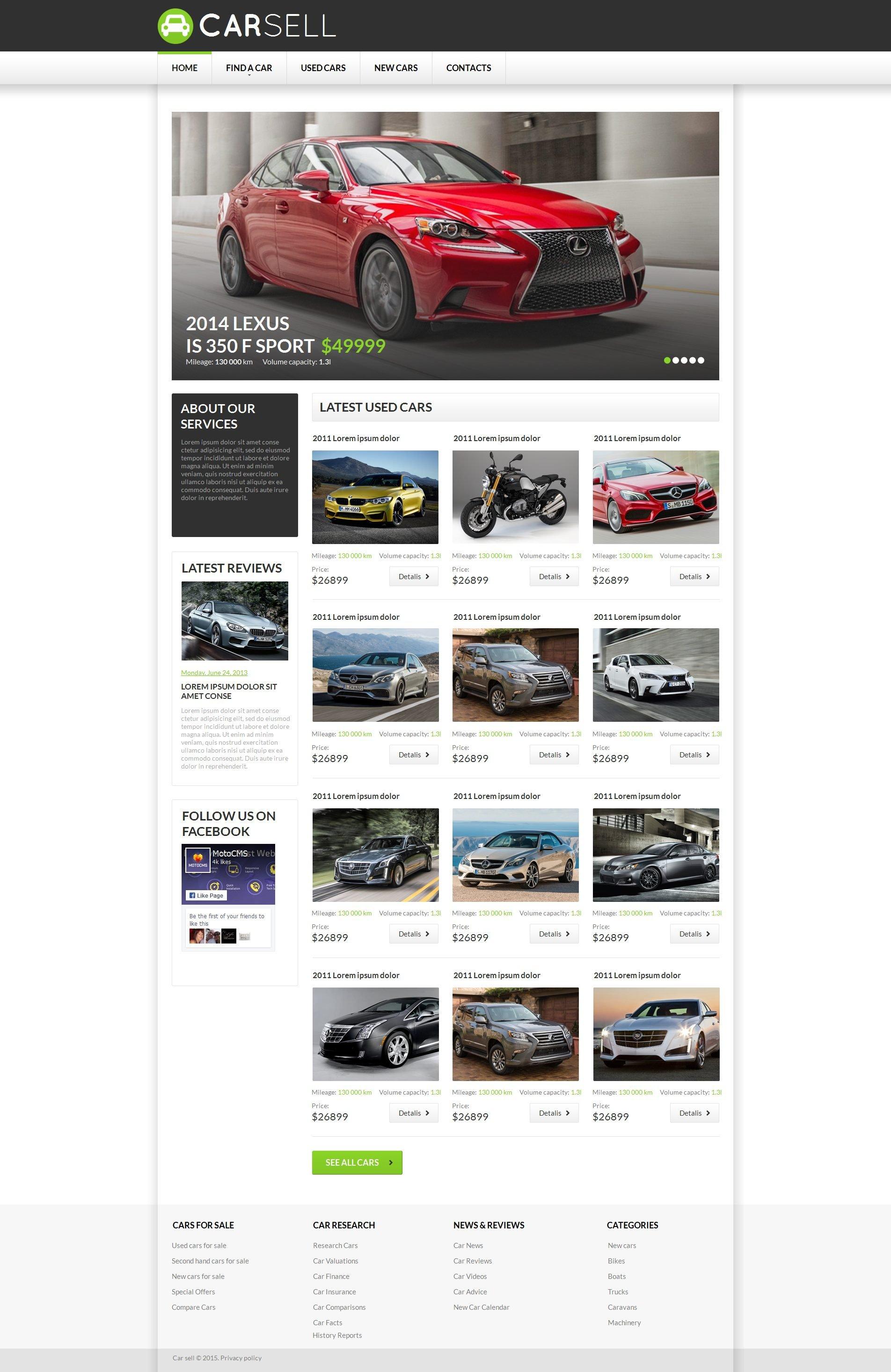 MotoCMS HTML шаблон №55662 на тему прокат авто