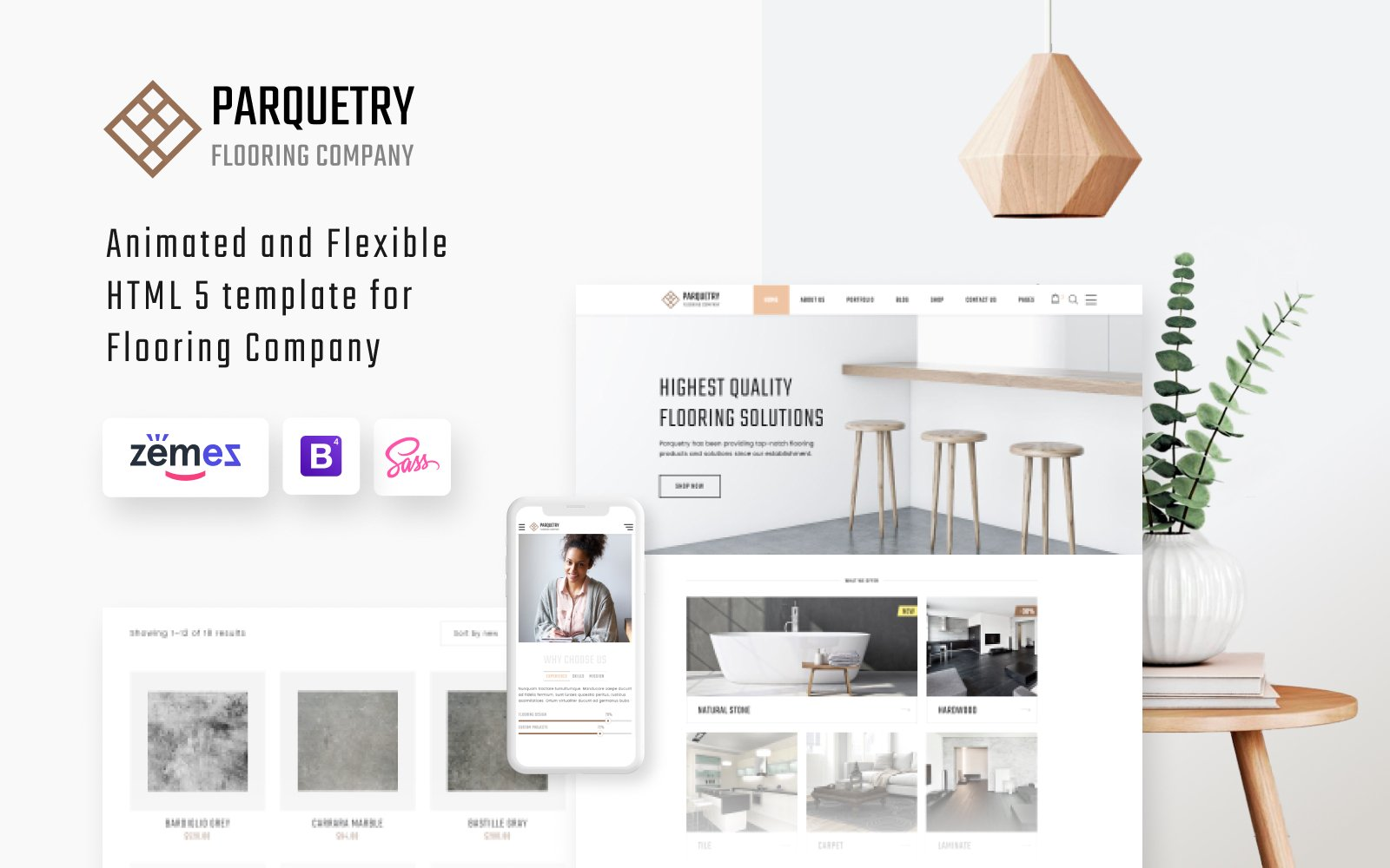 """""""Perquetry - Elegant Flooring Company Multipage HTML"""" Responsive Website template №55694"""