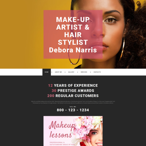 Make-Up Artist & Hair Stylist - MotoCMS 3 Template based on Bootstrap