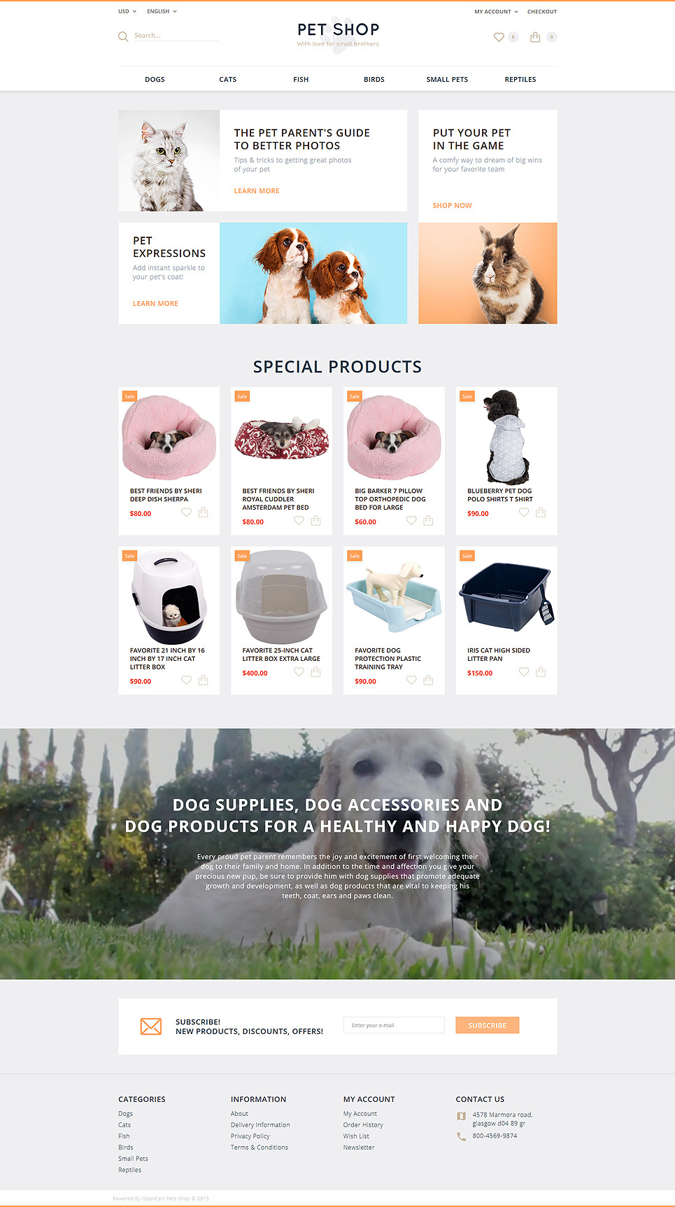 Pet Shop OpenCart Template New Screenshots BIG