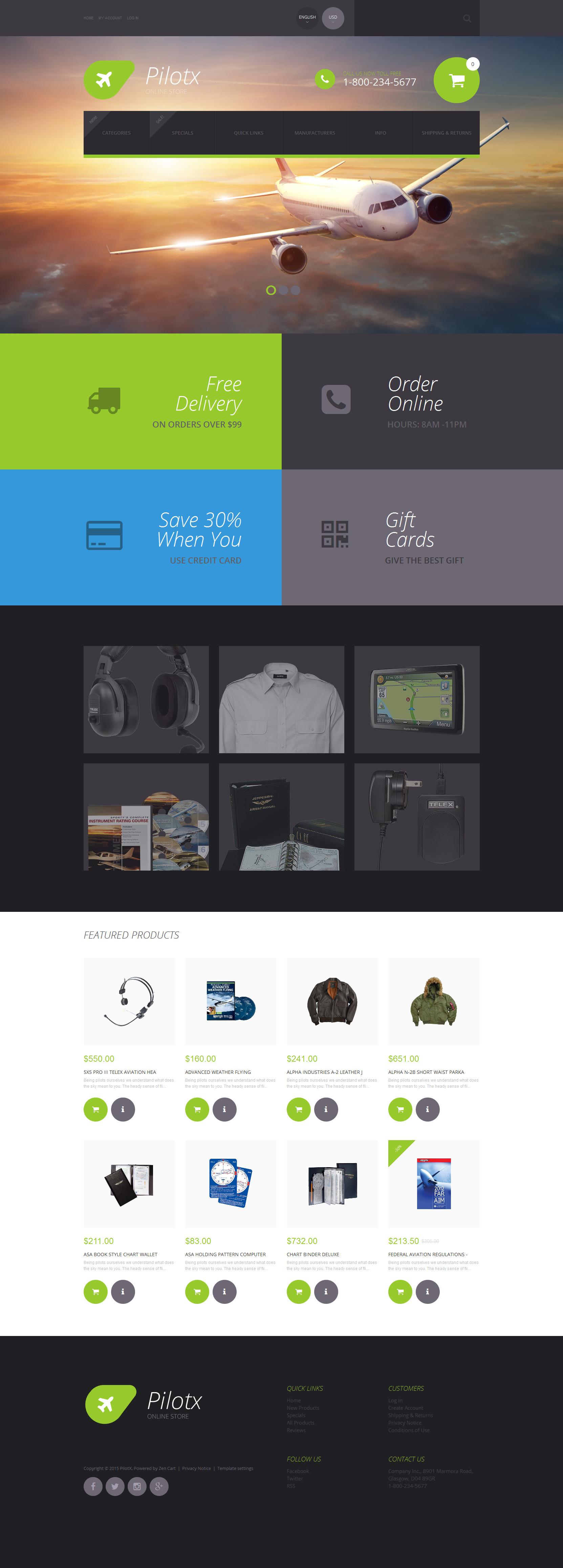"""""""Pilotx"""" Responsive ZenCart template №55604"""