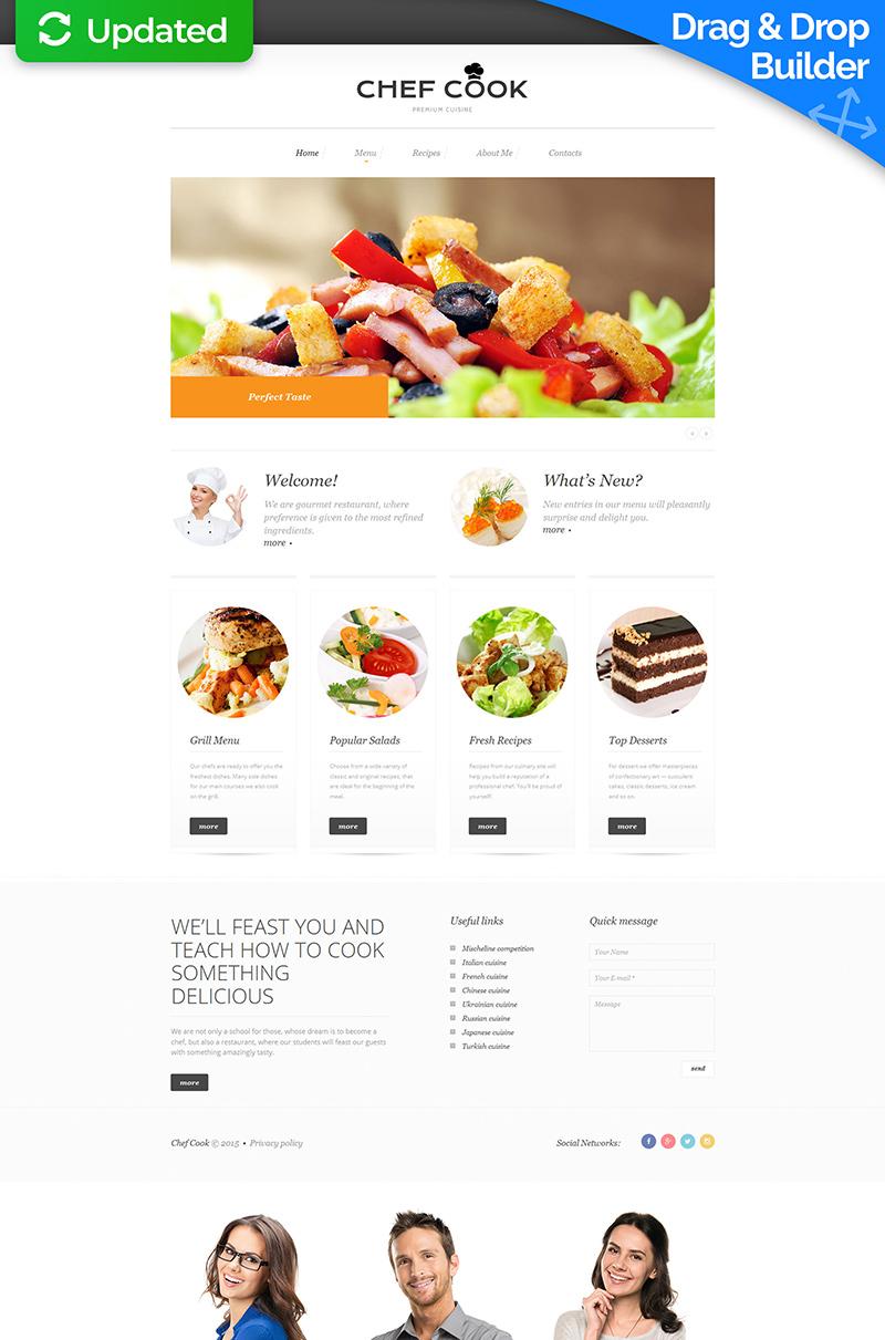 Plantilla Moto CMS 3 Responsive para Sitio de Chefes #55629