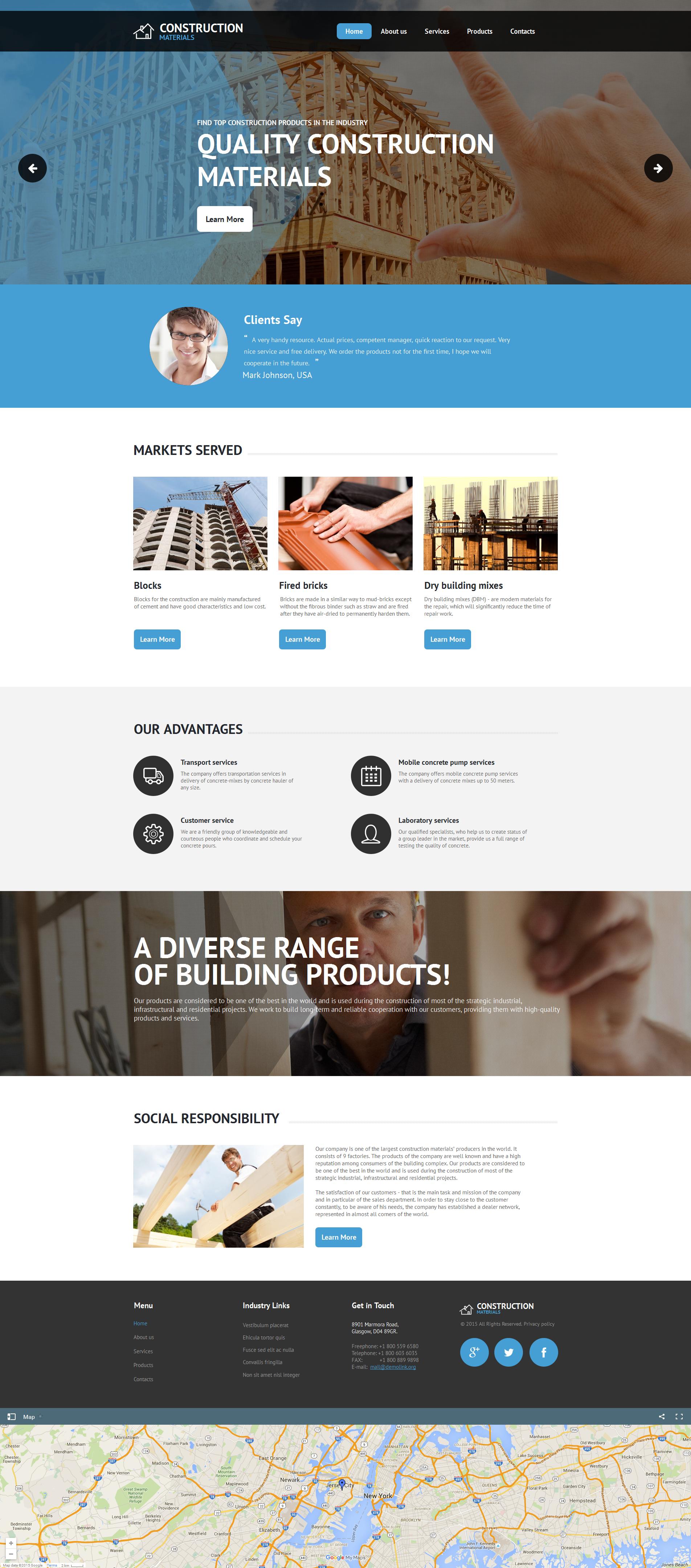 Prémium Építőipari vállalatok témakörű Moto CMS HTML sablon 55673