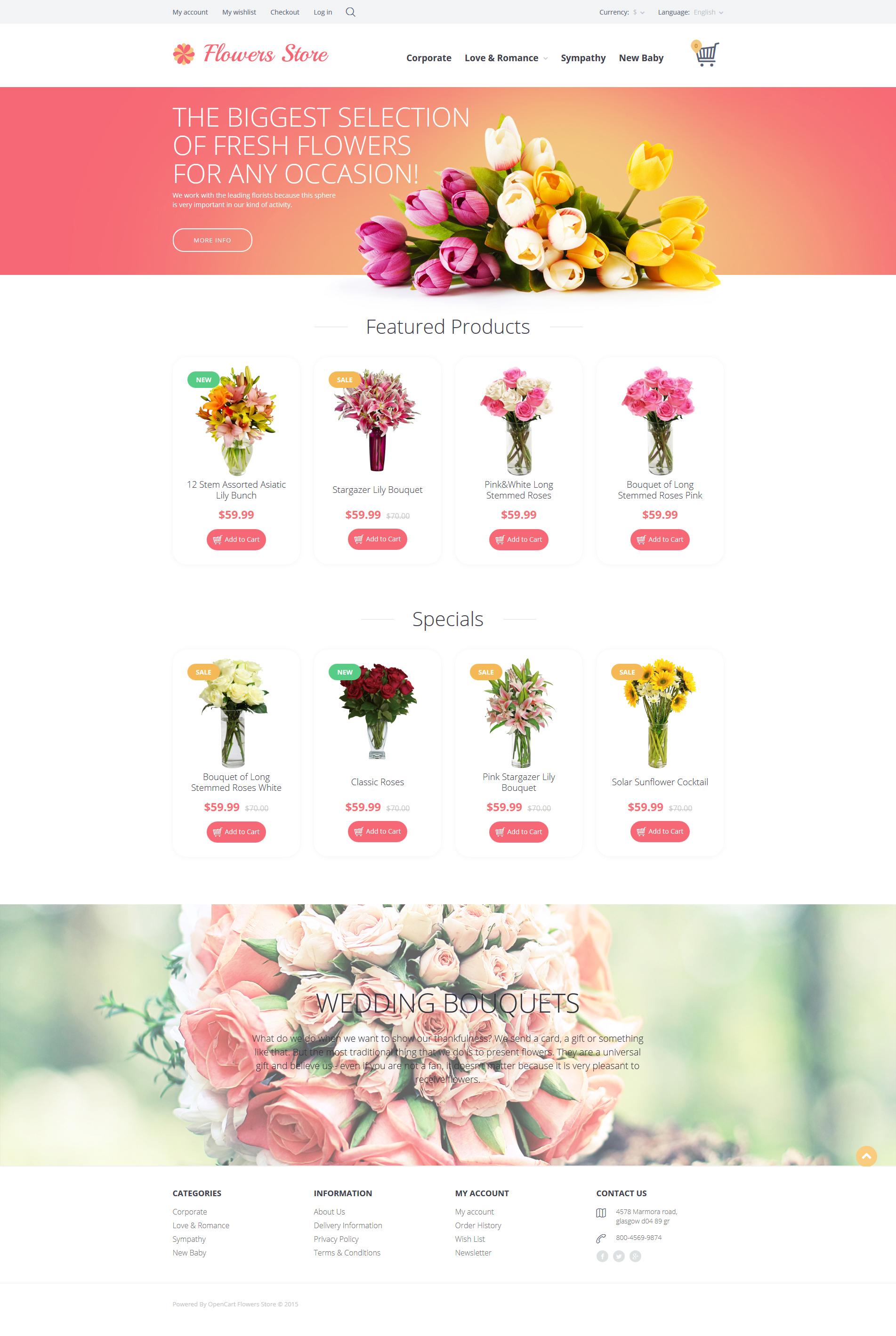 """Responzivní OpenCart šablona """"Flowers Store"""" #55697"""