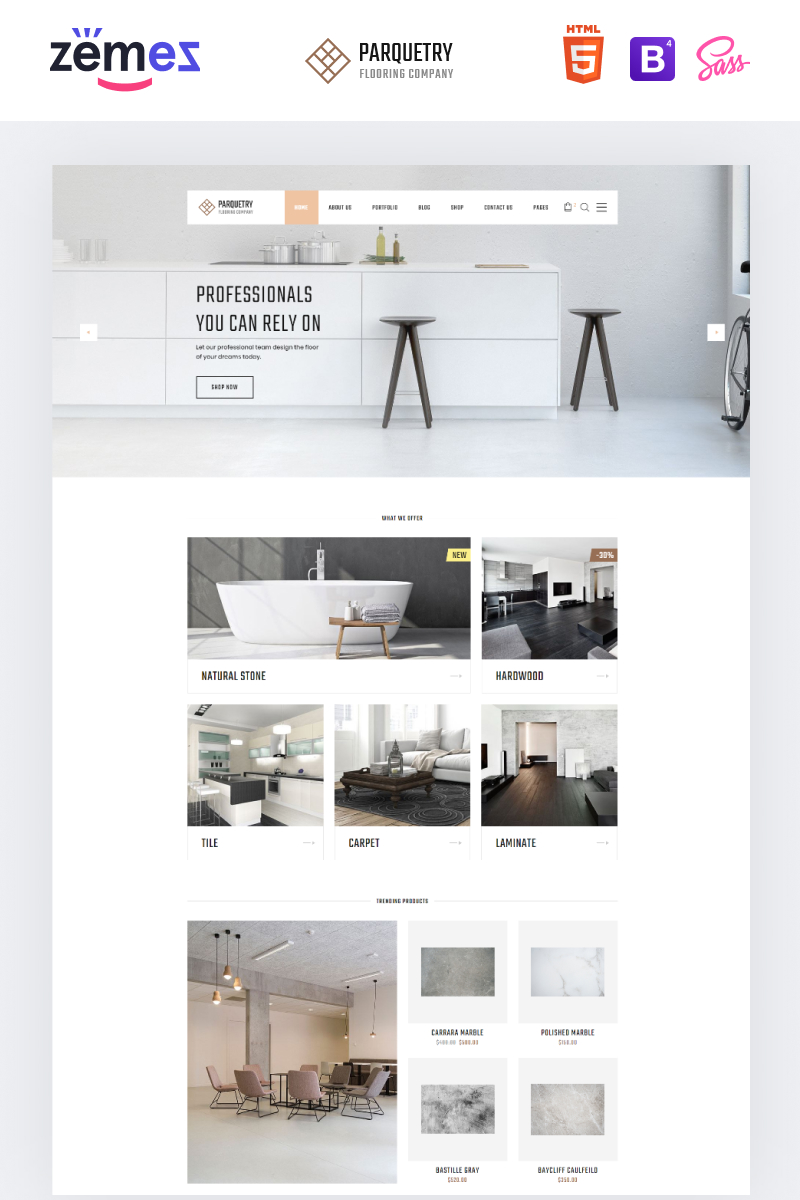 """Responzivní Šablona webových stránek """"Perquetry - Elegant Flooring Company Multipage HTML"""" #55694"""