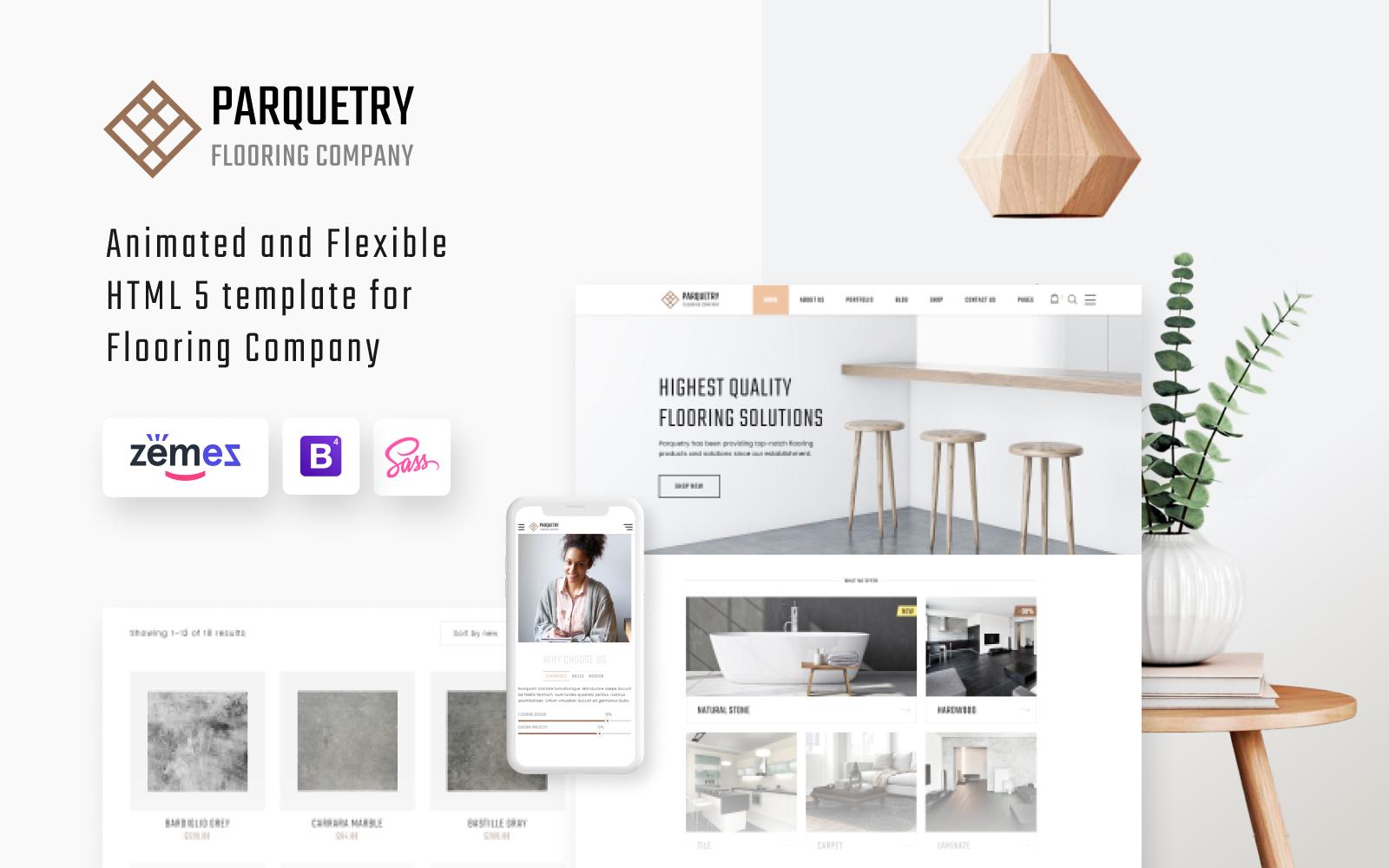 Reszponzív Parquetry - Flooring Company HTML5 Weboldal sablon 55694