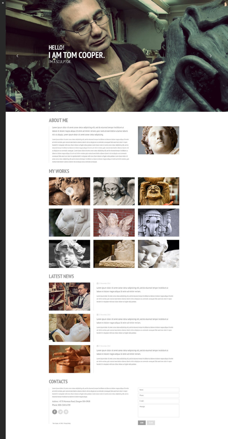 Sculptor Website Template New Screenshots BIG