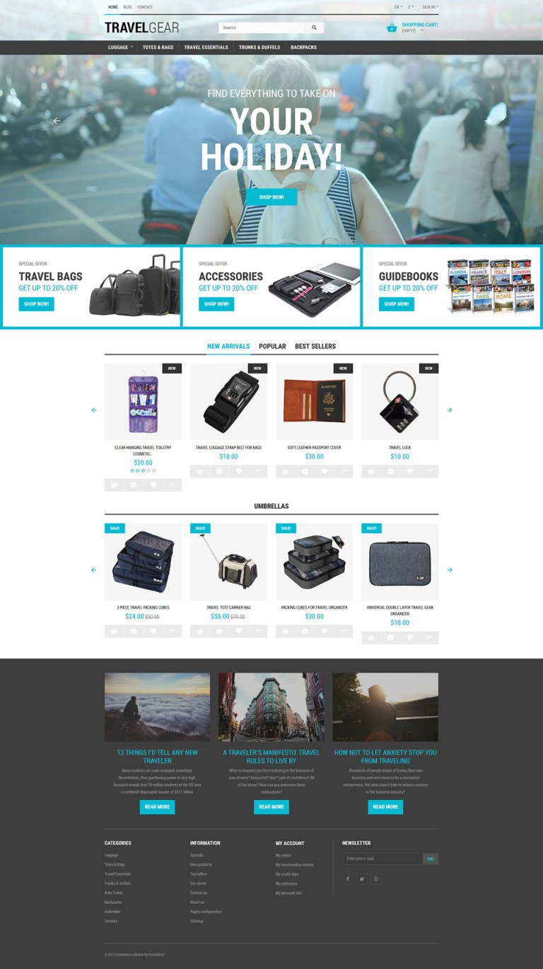 Travel Gear PrestaShop Theme New Screenshots BIG