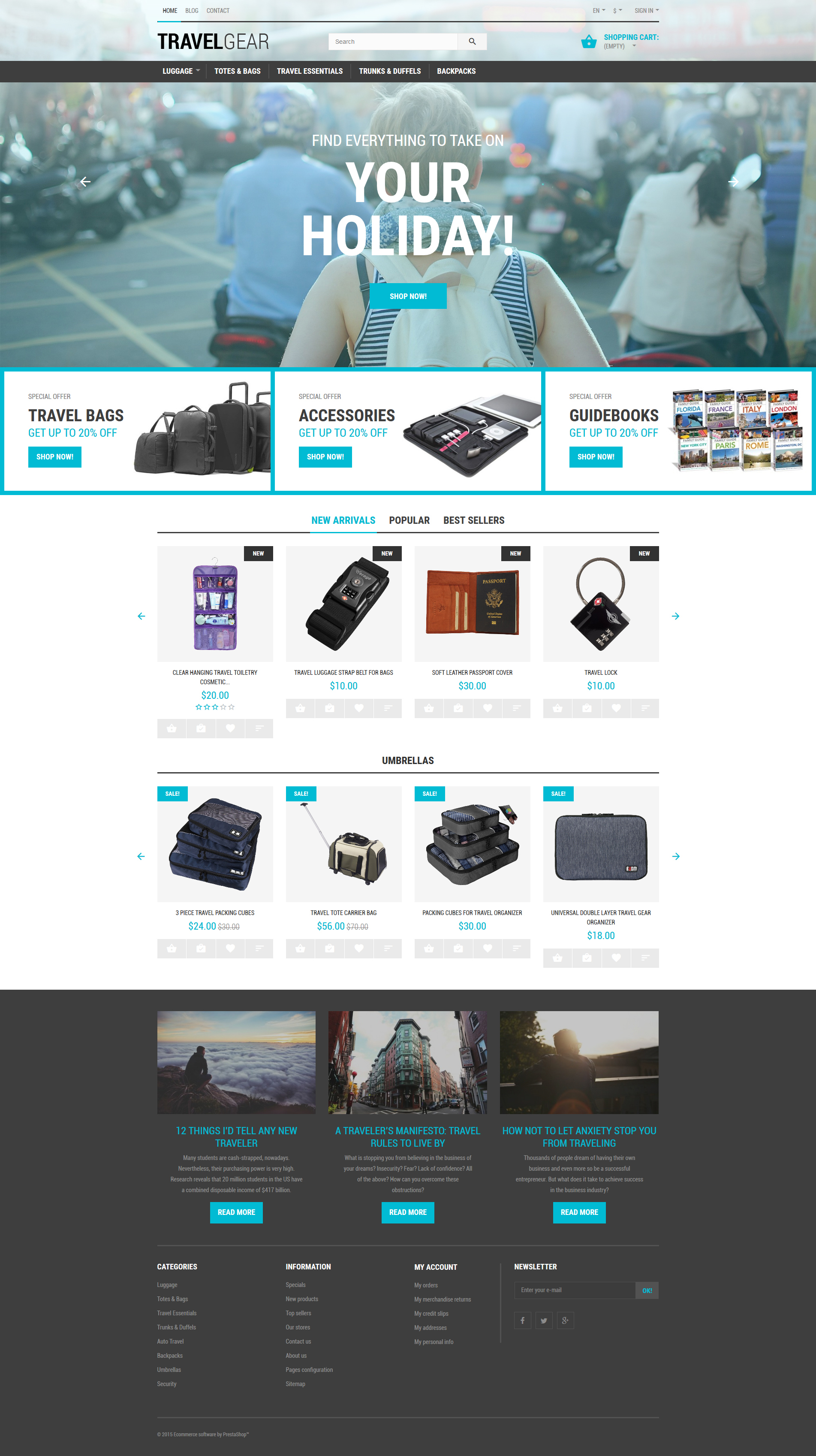 Travel Gear PrestaShop Theme - screenshot