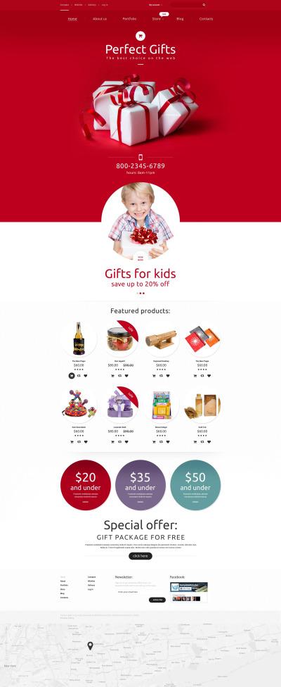 Адаптивный WooCommerce шаблон №55605 на тему магазин подарков