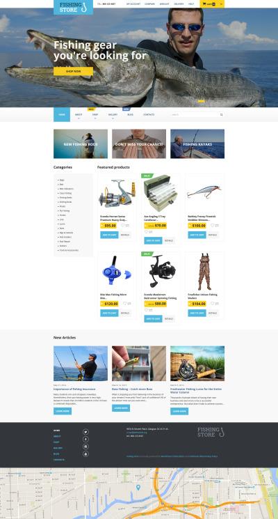 Адаптивний WooCommerce шаблон на тему рибалка #55703