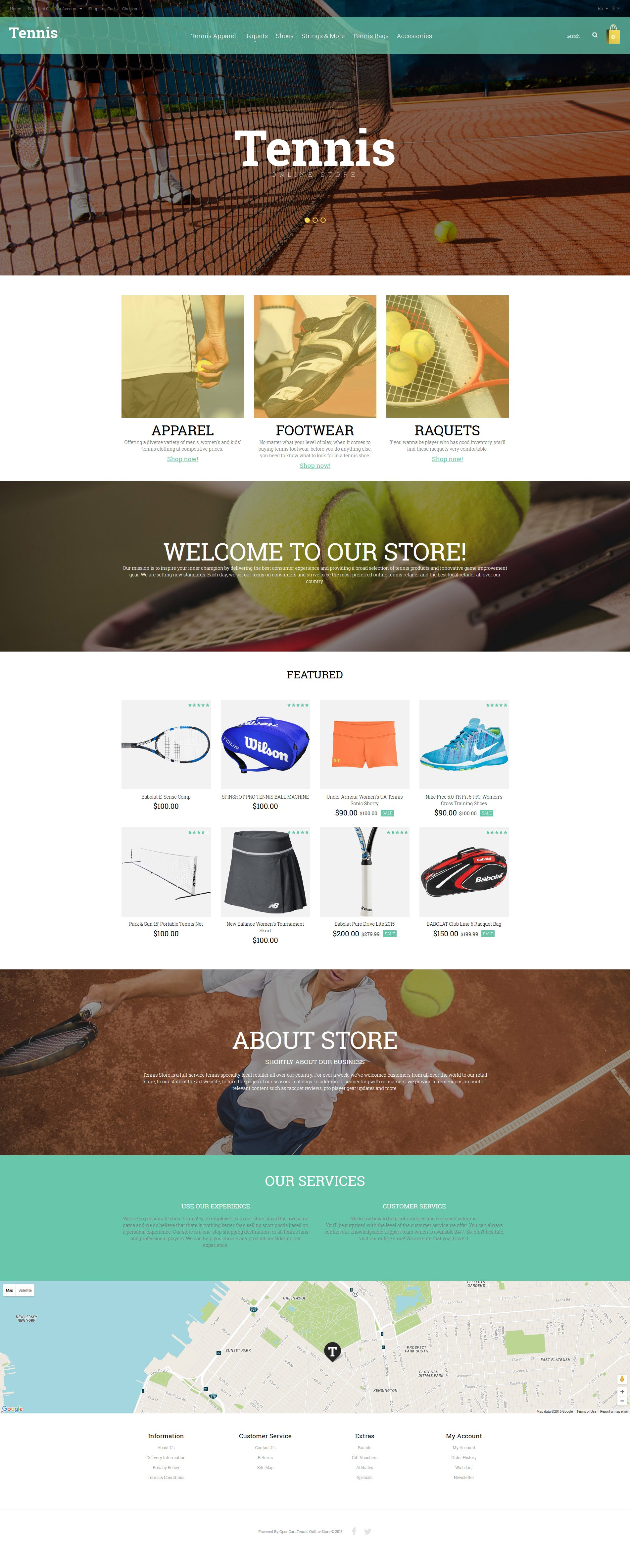 Адаптивный OpenCart шаблон №55799 на тему теннис