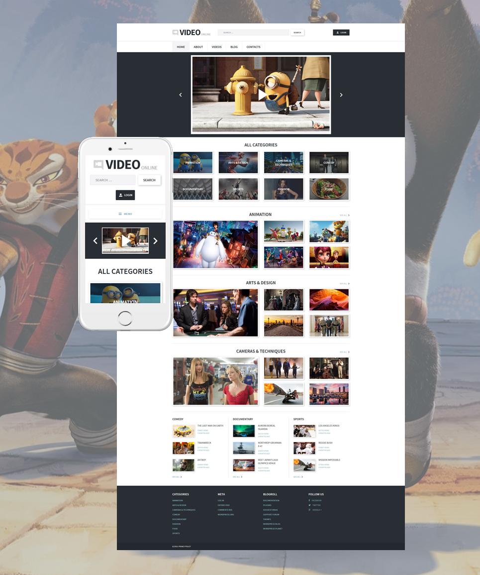 Адаптивный шаблон сайта на тему видеогалерея #55716