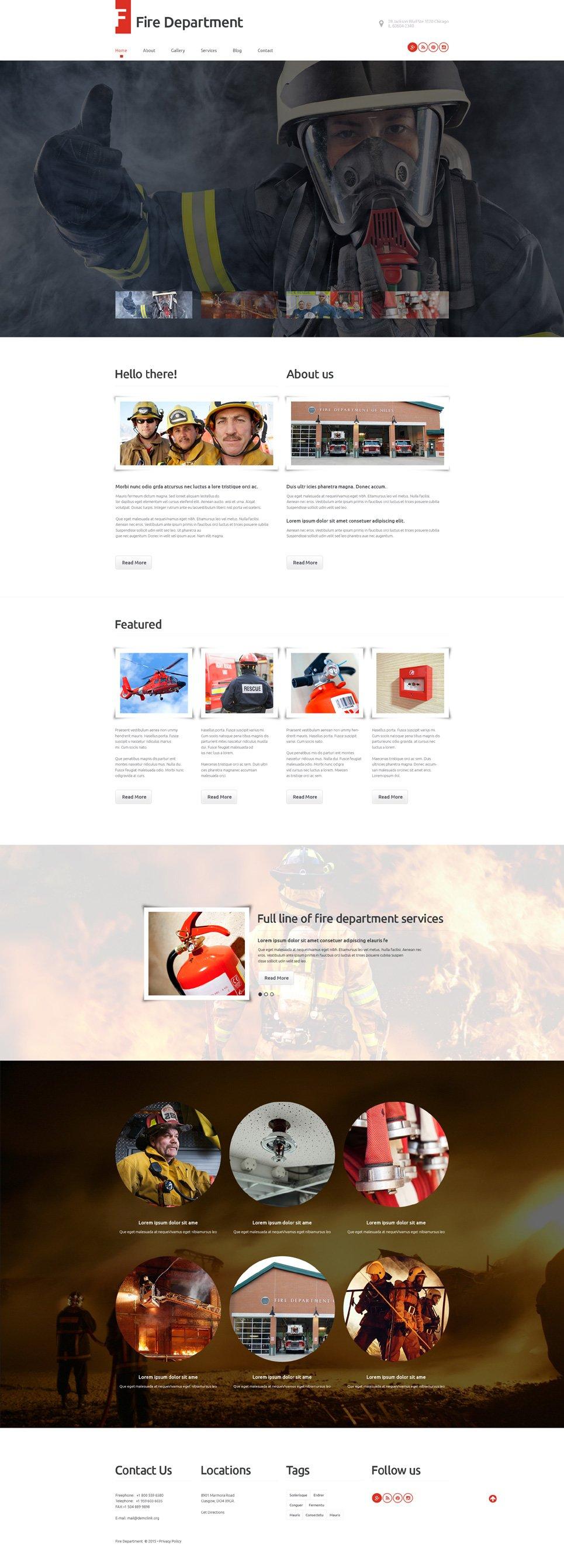 Адаптивный шаблон сайта на тему пожарная часть #55751
