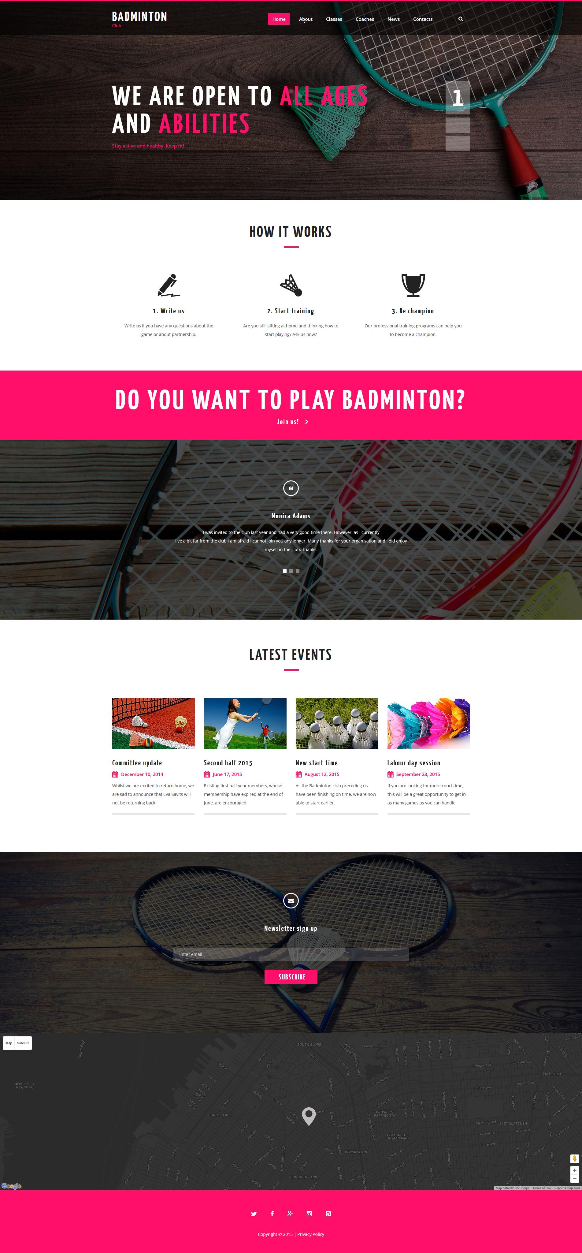 Badminton Club Website Template