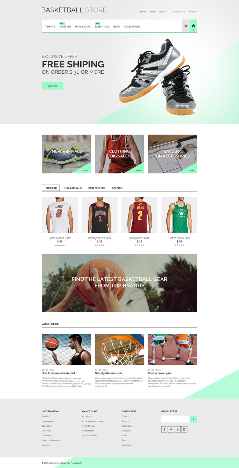 Basketball Uniform PrestaShop Theme New Screenshots BIG
