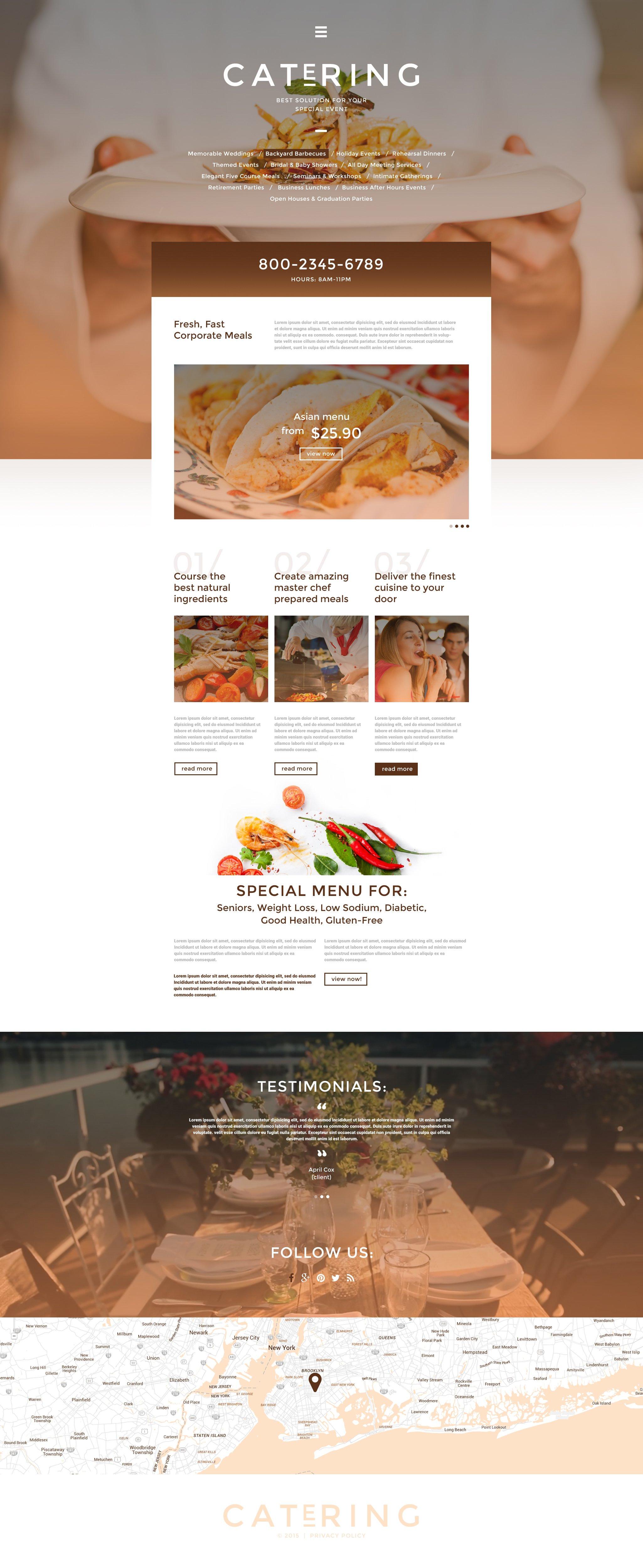 """Catering Solutions"" - адаптивний Шаблон сайту №55773"