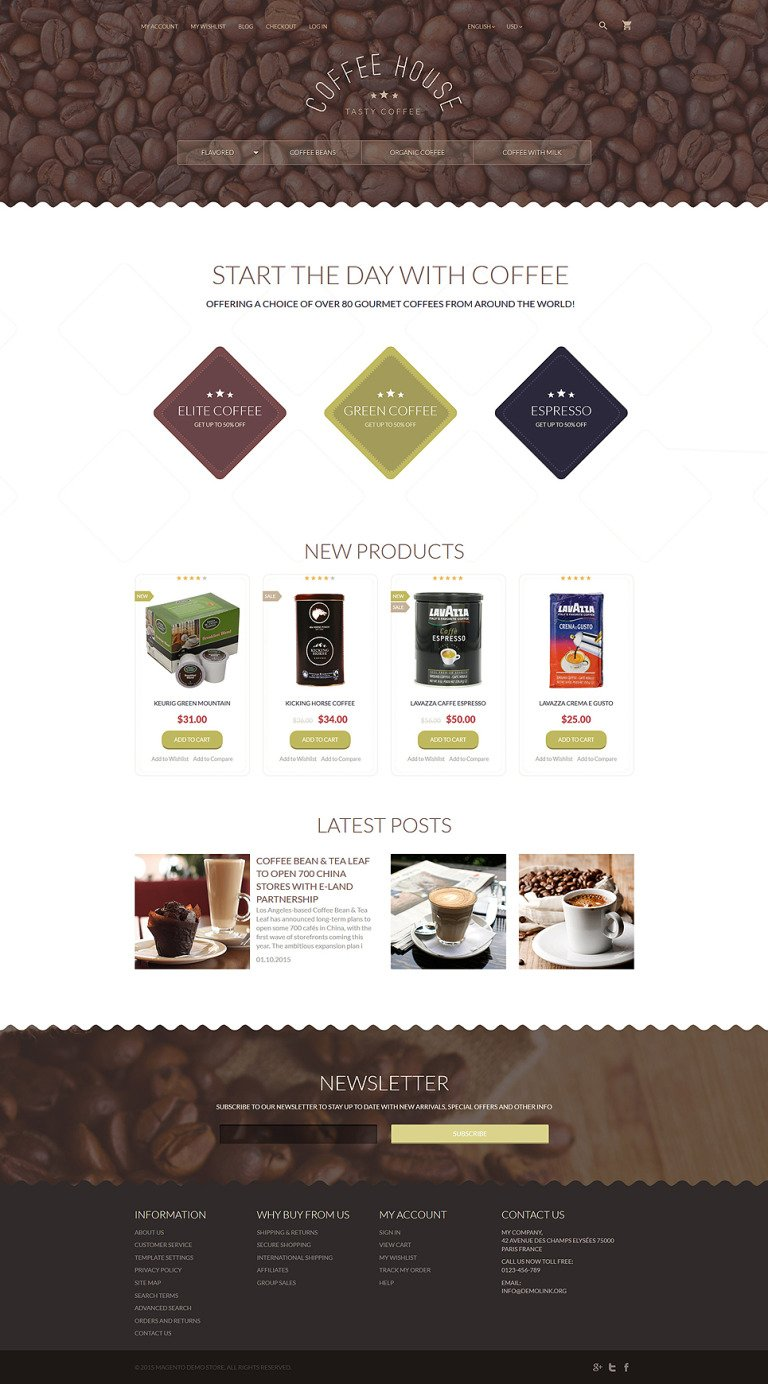 Coffee Shop Magento Theme New Screenshots BIG