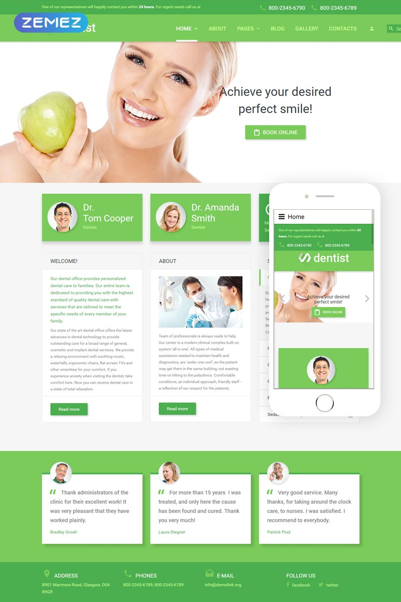 Dentist Template Joomla №55709