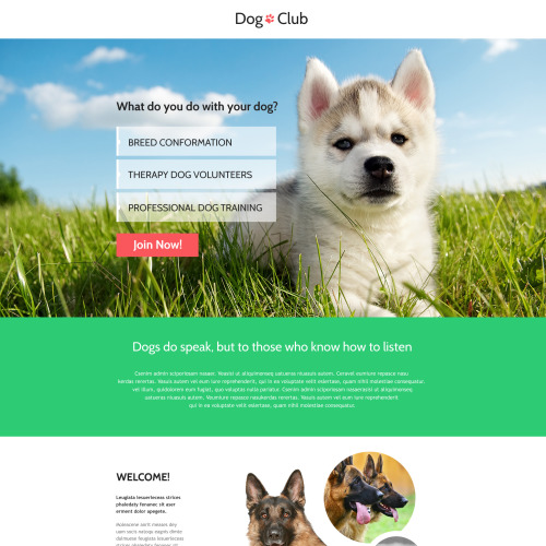 Dog Club - Responsive Landing Page Template