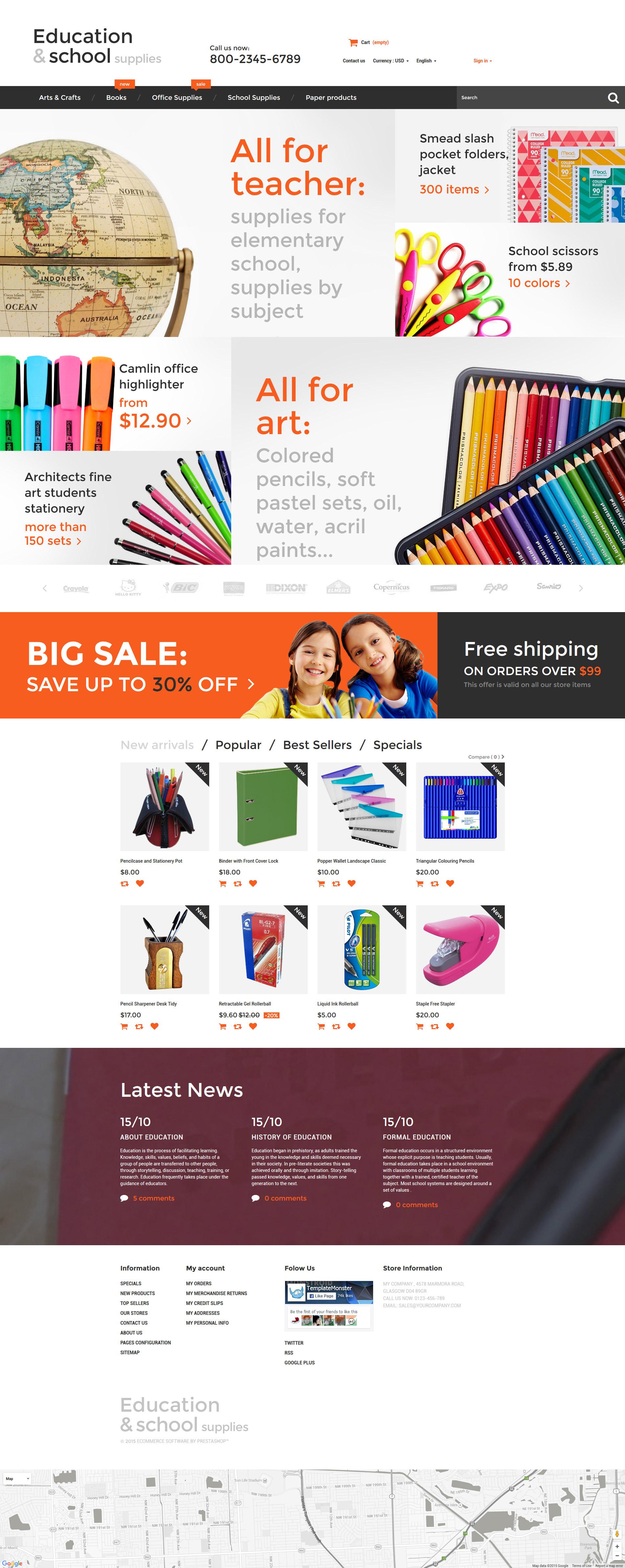 """Education  School Supplies"" - адаптивний PrestaShop шаблон №55737 - скріншот"