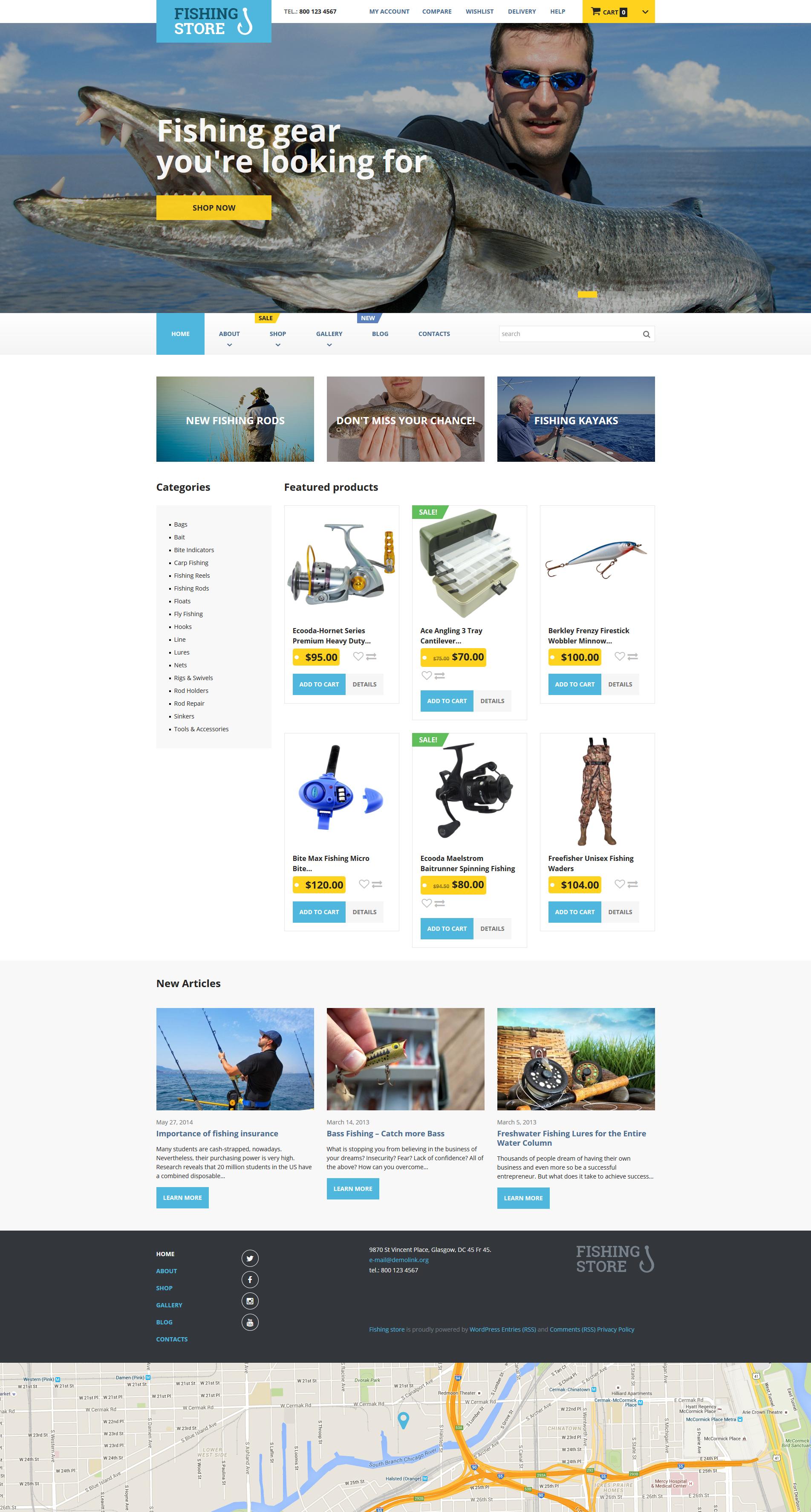 """""""Fishing Store"""" Responsive WooCommerce Thema №55703"""