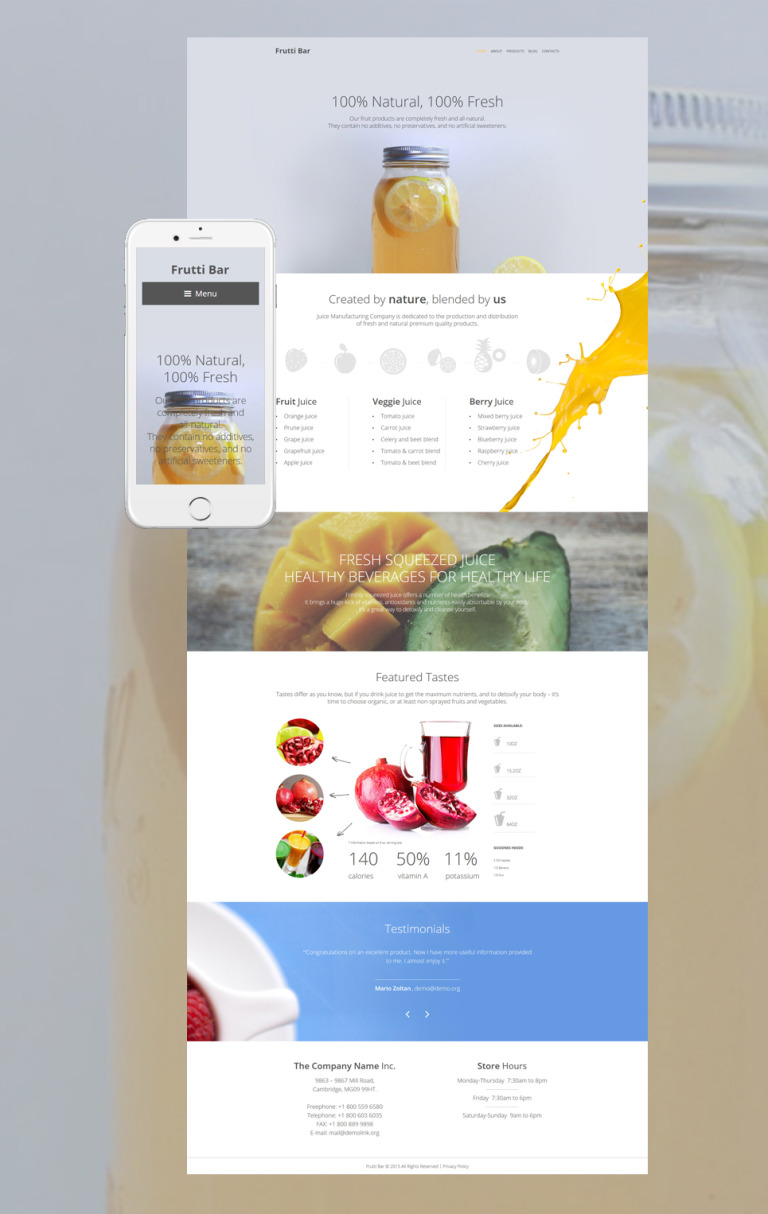 Frutti Bar WordPress Theme New Screenshots BIG
