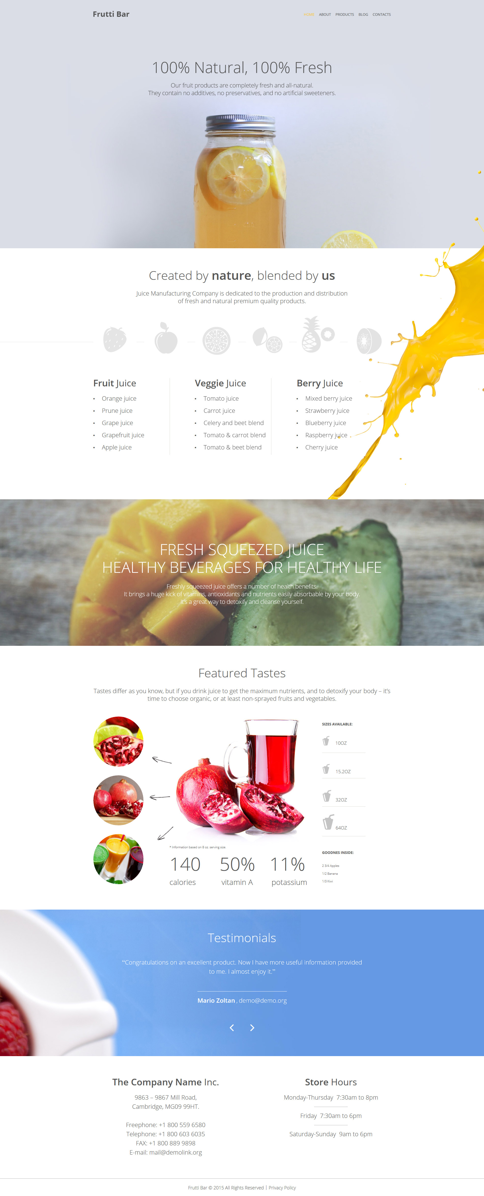 """Frutti Bar"" 响应式WordPress模板 #55725"