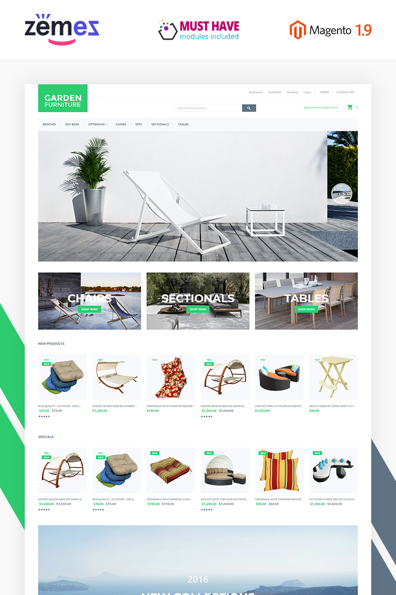 """Garden Furniture"" Responsive Magento Thema №55765"