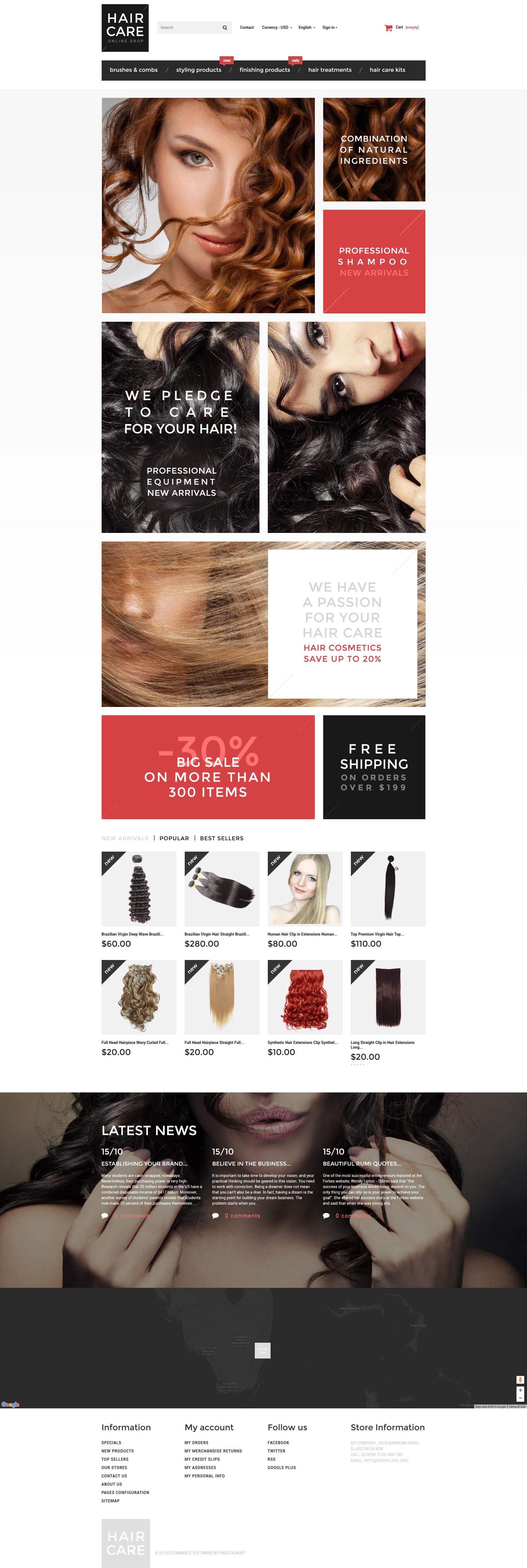 """Hair Gloss"" Responsive PrestaShop Thema №55757 - screenshot"