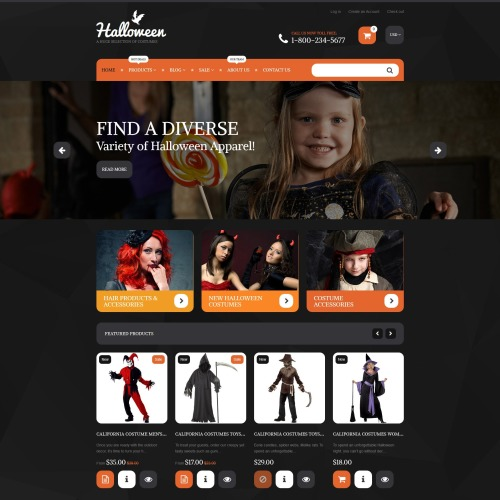 Halloween Costumes - Shopify Template based on Bootstrap