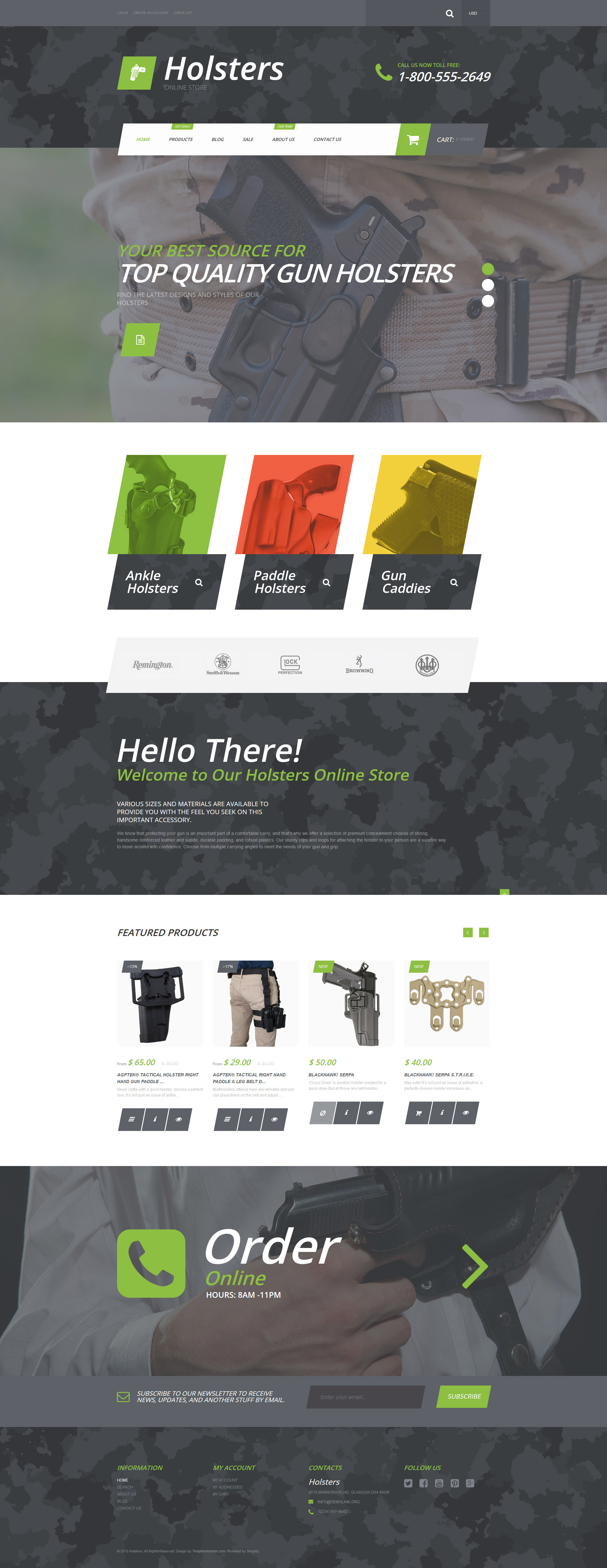 """""""Holsters"""" Responsive Shopify Thema №55731"""