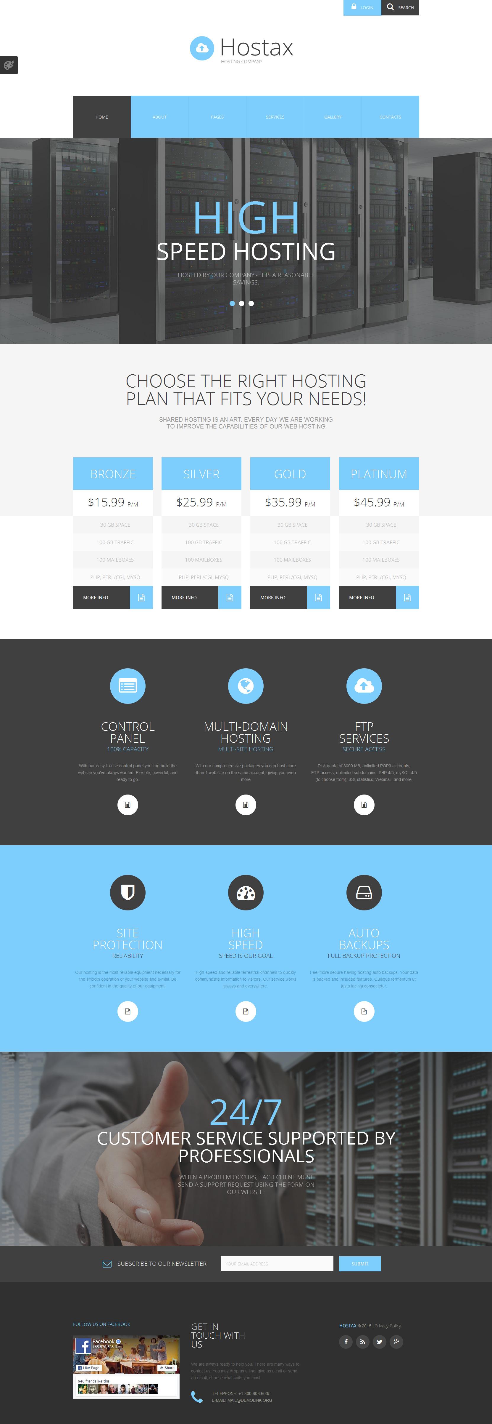 """Hostax - Hosting Clean"" Responsive Joomla Template №55704"
