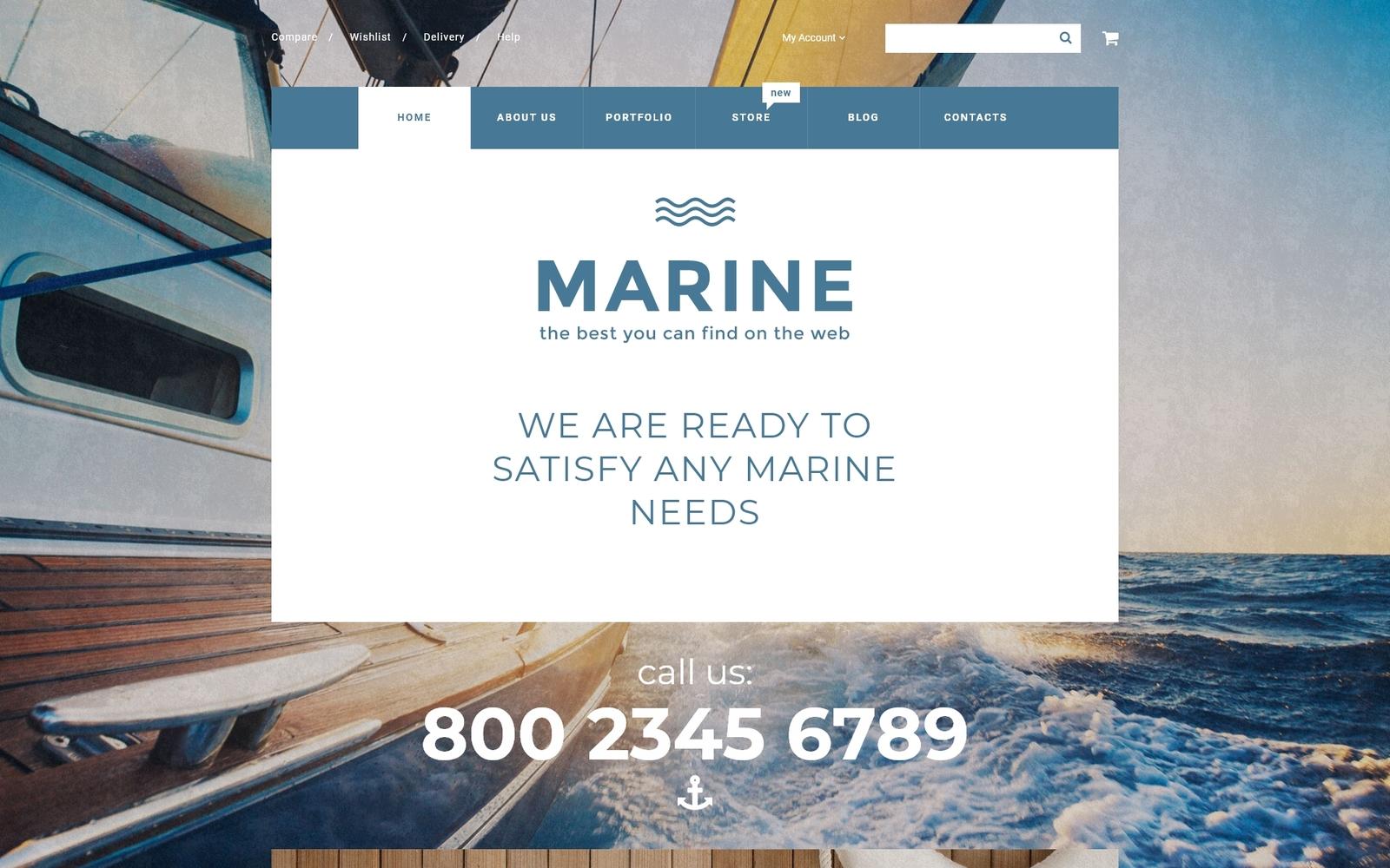 """""""Marine"""" Responsive WooCommerce Thema №55730"""