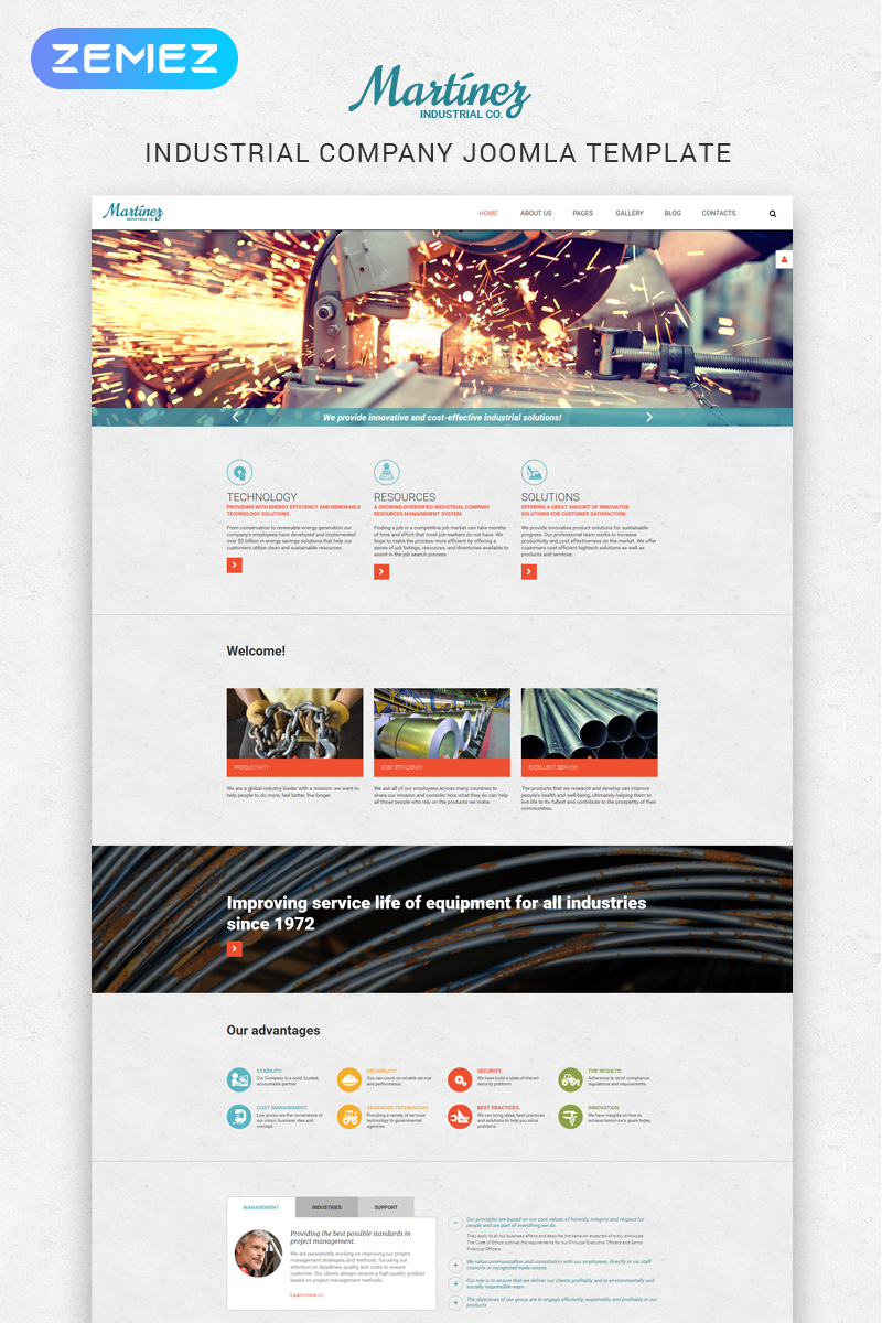 Martinez - Industrial Multipage Modern Joomla Template - screenshot
